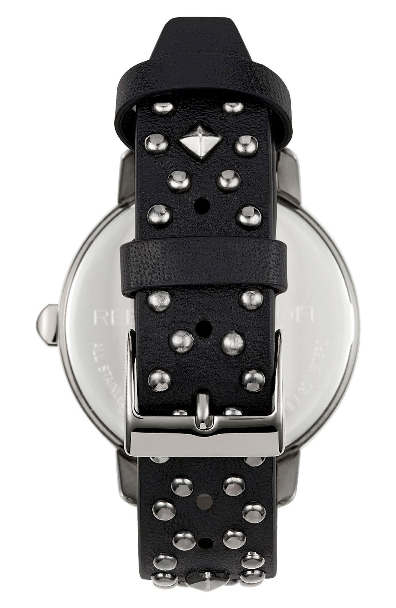 BFFL Studded Leather Strap Watch, 36mm,                             Alternate thumbnail 2, color,                             Black/ Gunmetal