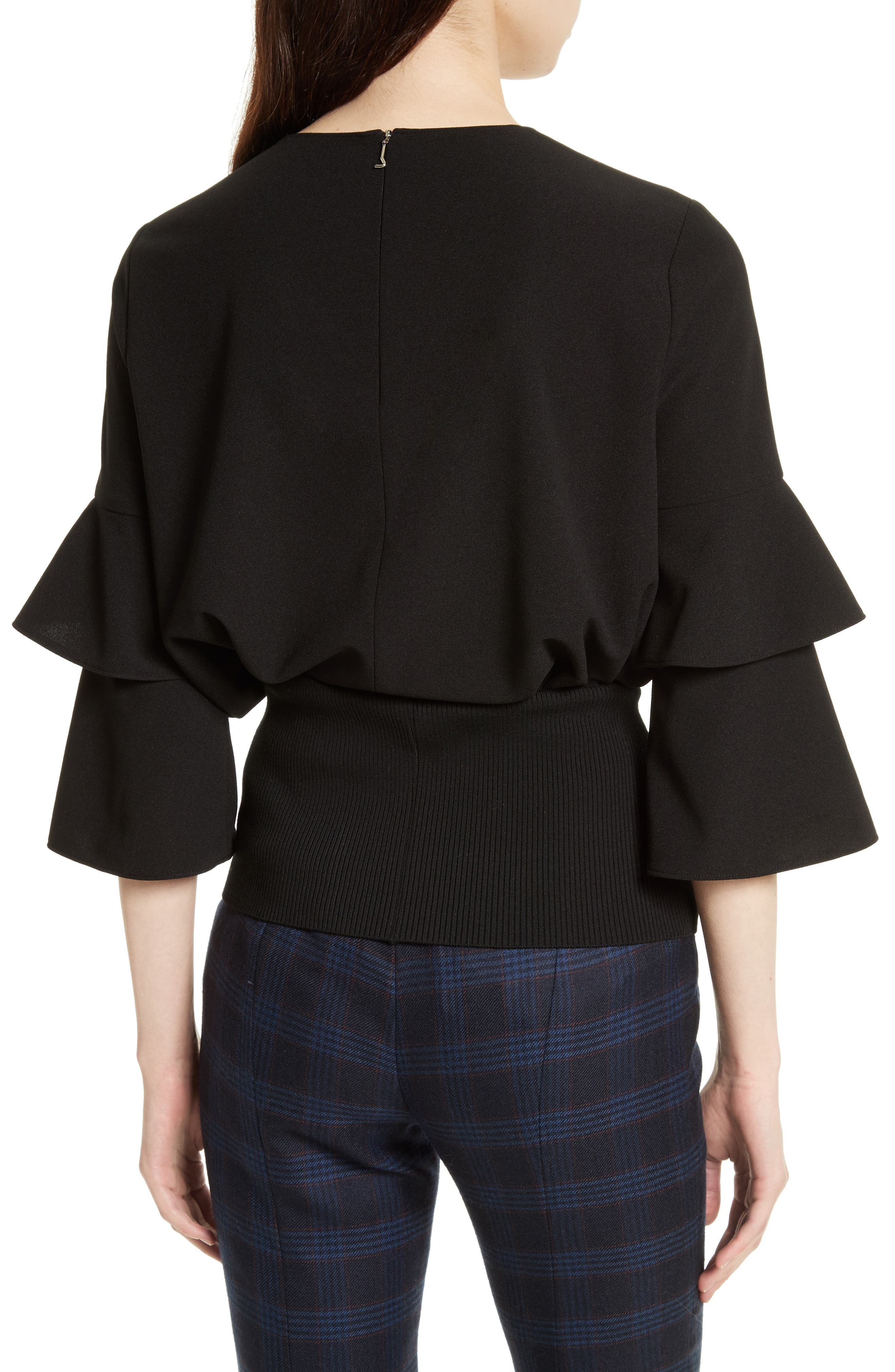 Bell Sleeve Stretch Crepe Top,                             Alternate thumbnail 2, color,                             Black