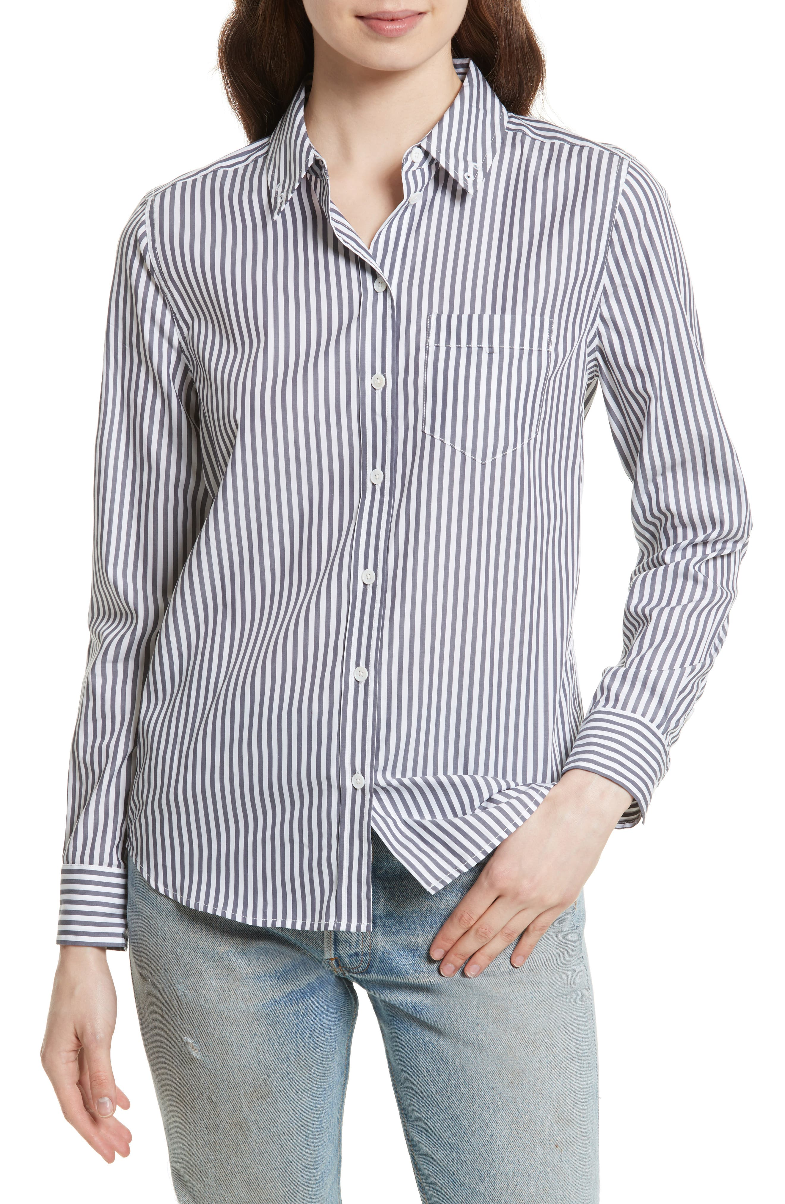 EQUIPMENT Brett Embroidered Stripe Cotton Shirt