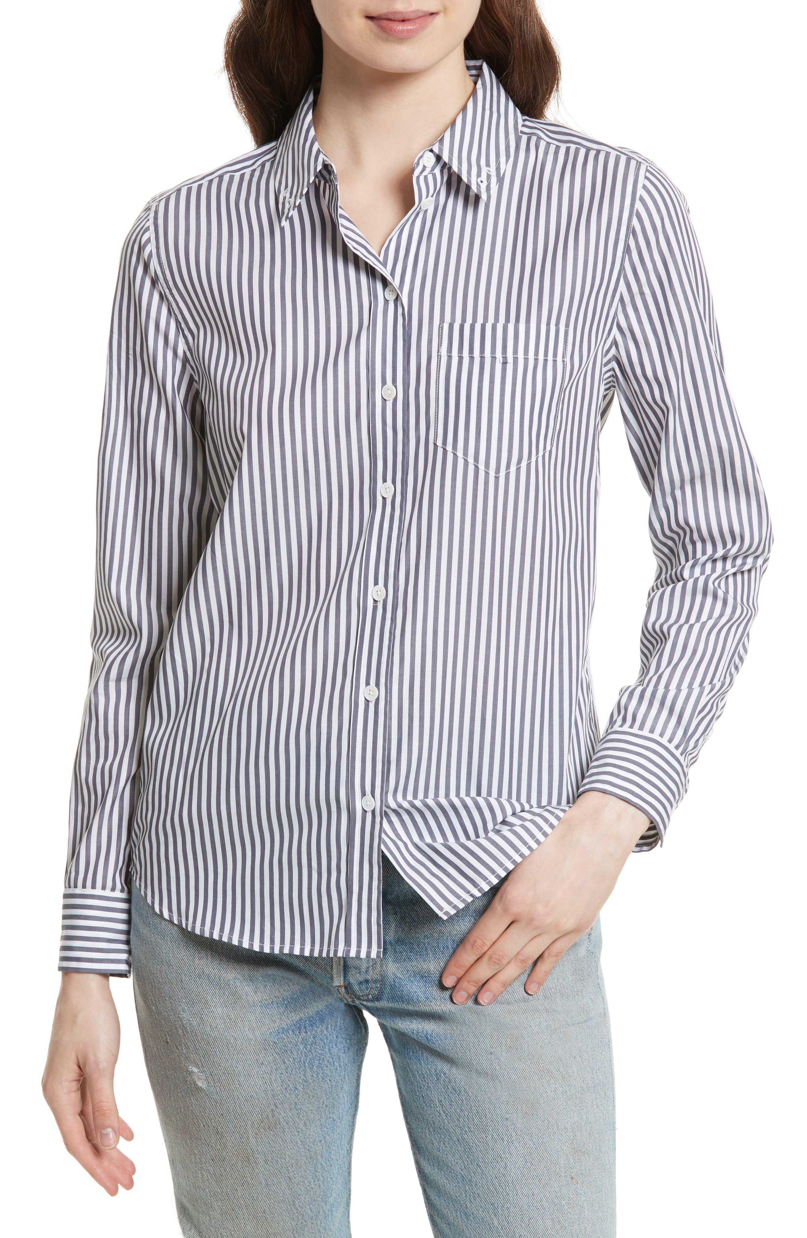 Brett Embroidered Stripe Cotton Shirt,                         Main,                         color, Bright White/ Blue