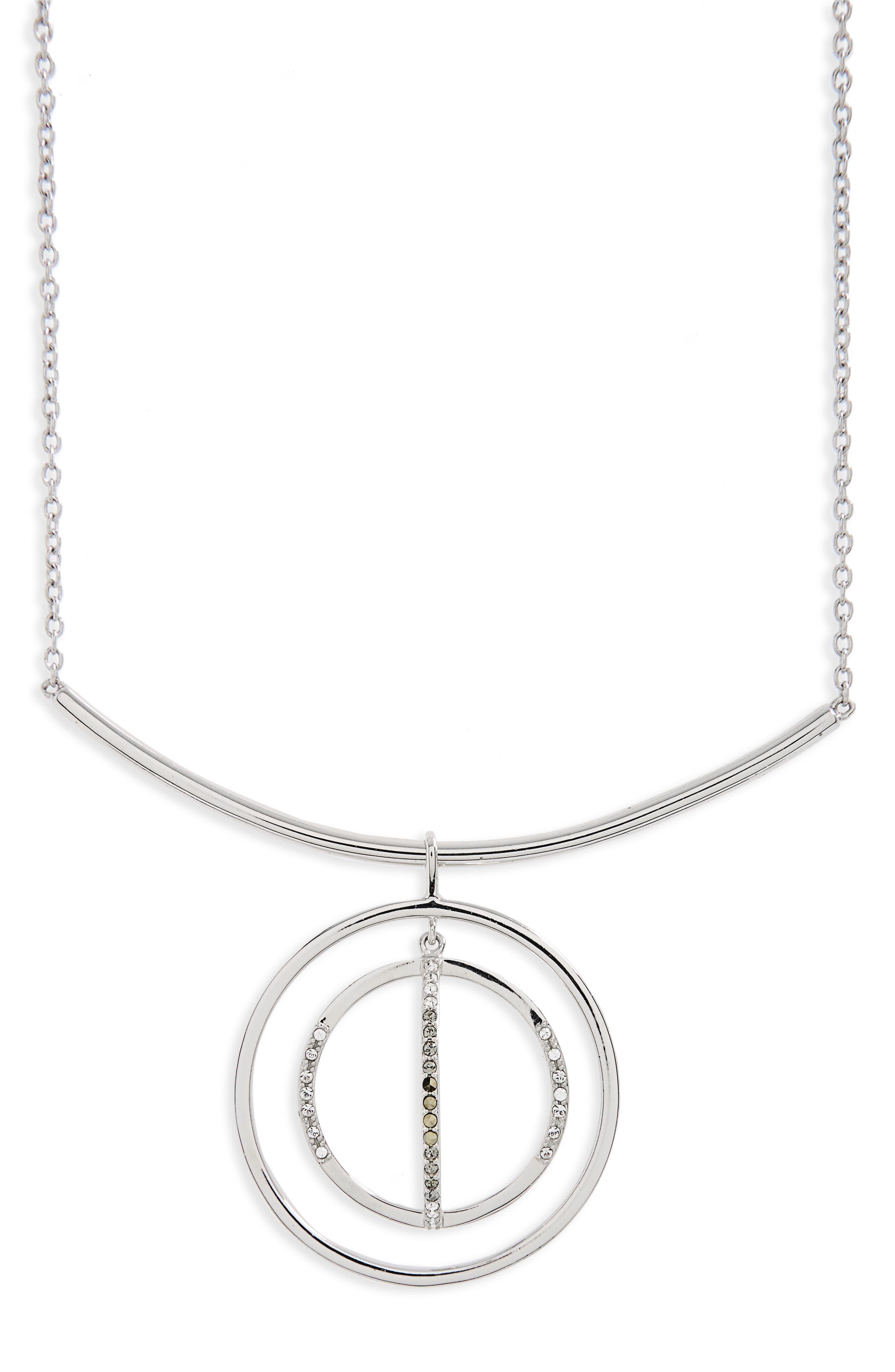 Silver Sparkle Circle Pendant Necklace,                             Main thumbnail 1, color,                             Black Diamond/ Marcasite