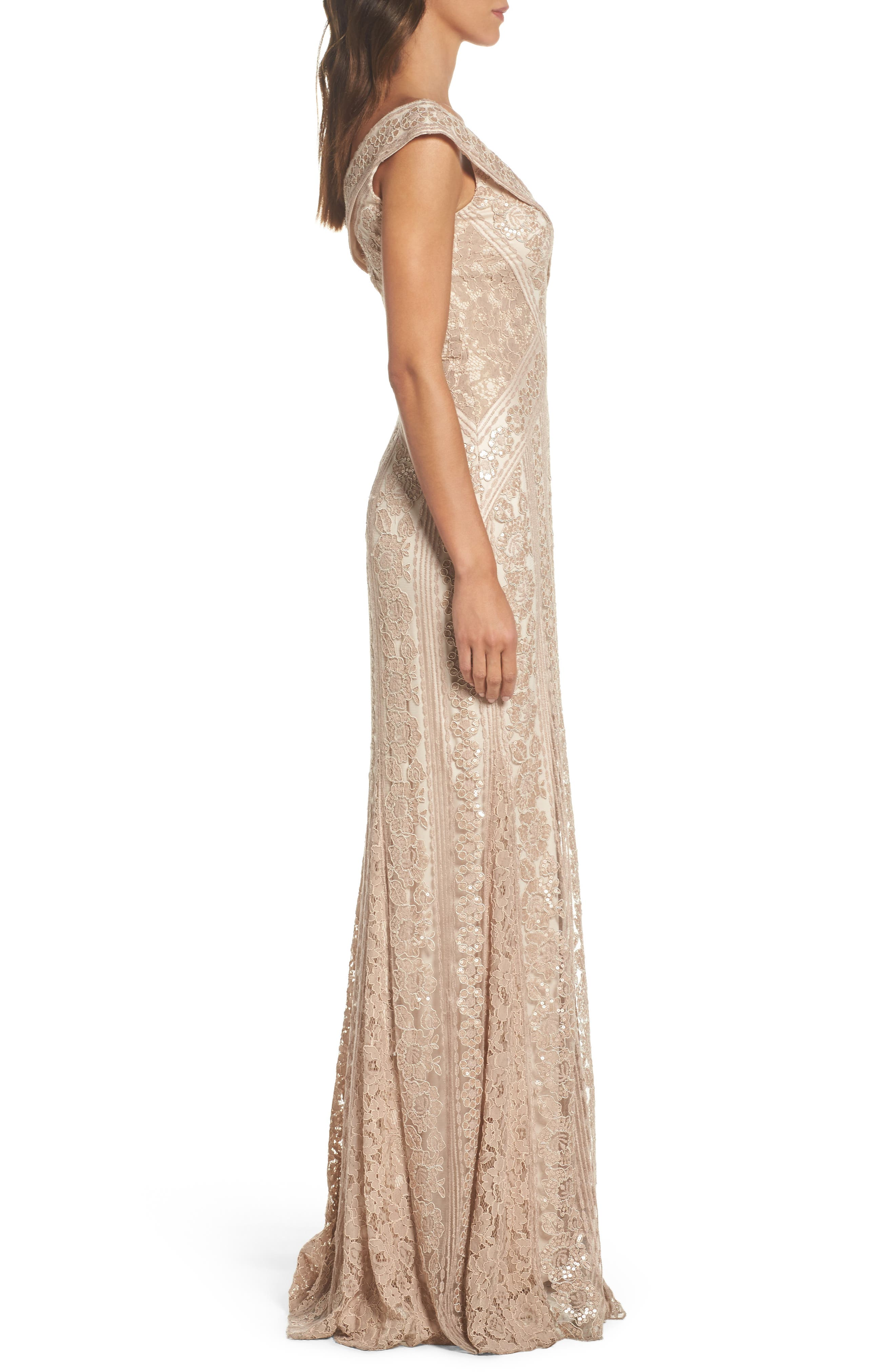 Sequin Gown,                             Alternate thumbnail 3, color,                             Champagne