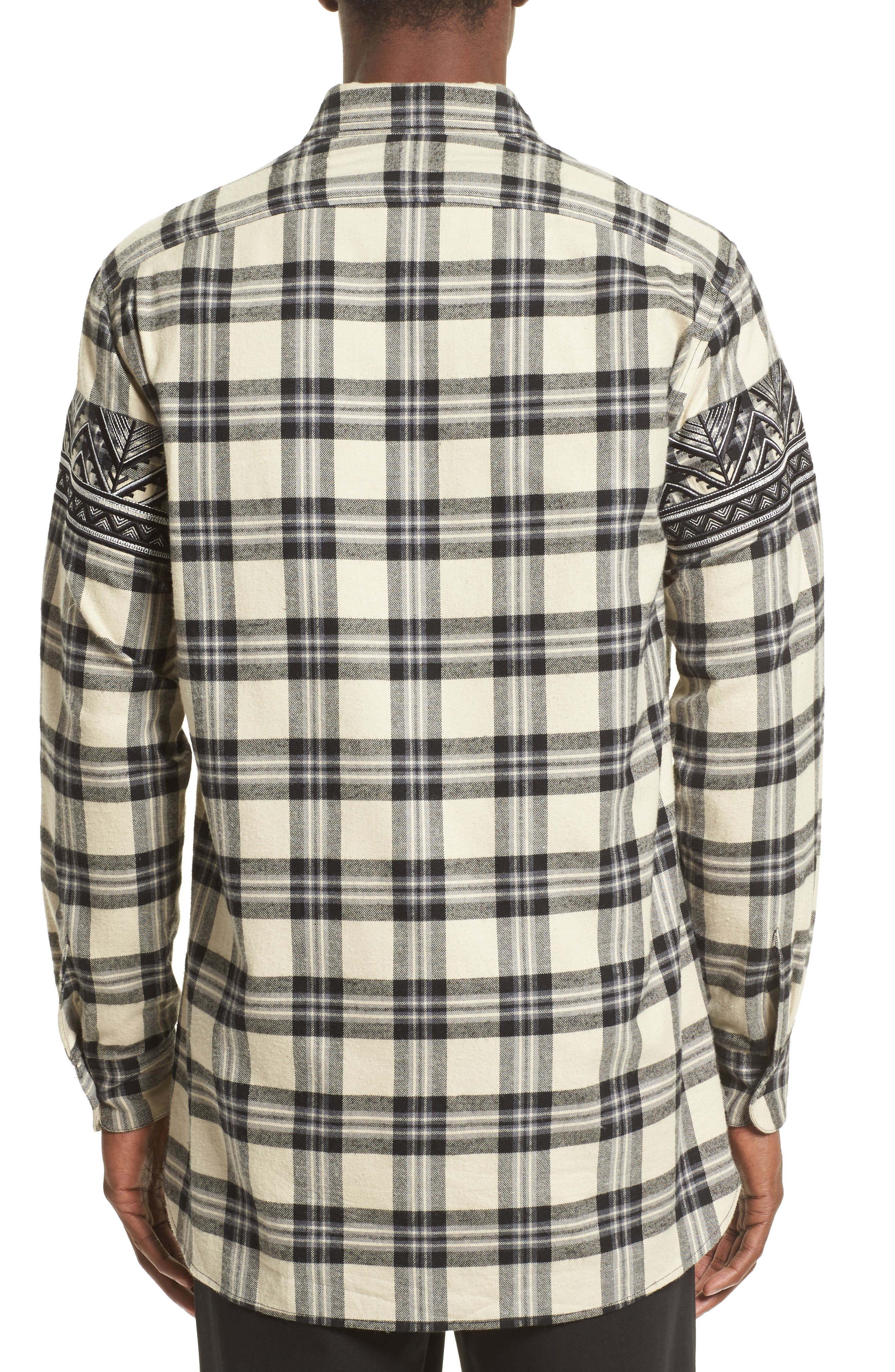 VIP Elongated Zip Flannel Shirt,                             Alternate thumbnail 2, color,                             Alabaster