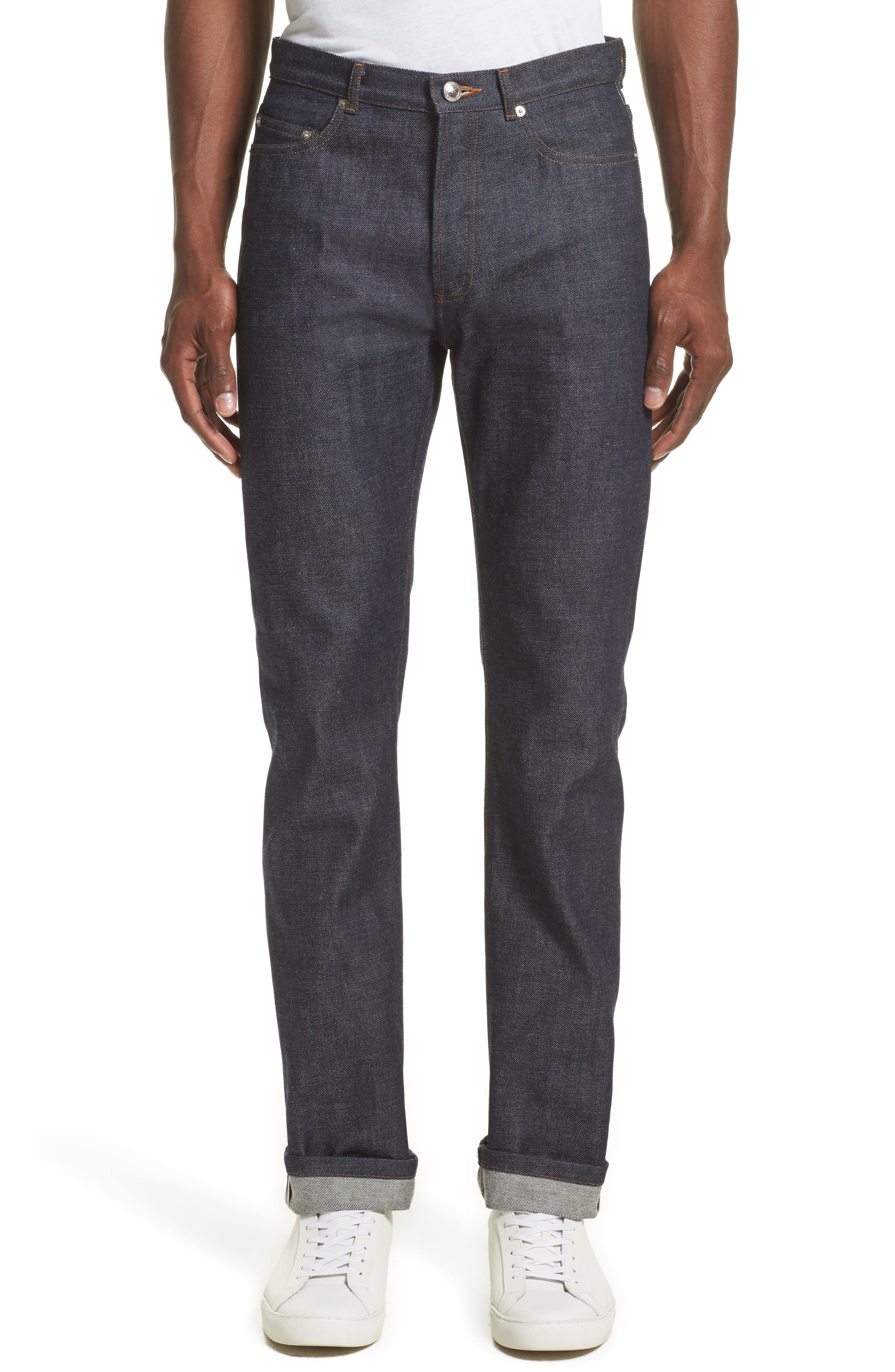 High Waist Standard Selvedge Jeans,                         Main,                         color, Indigo