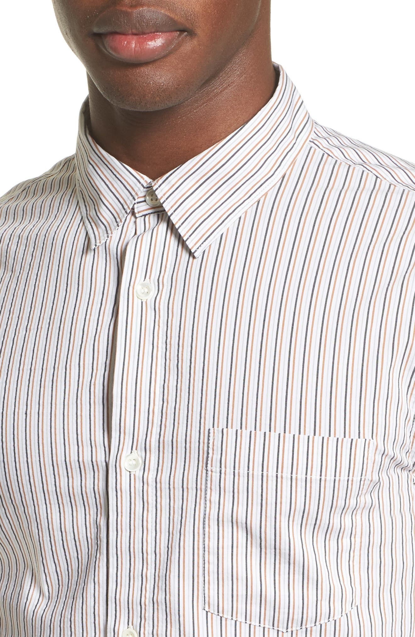 Franklin Extra Trim Fit Stripe Sport Shirt,                             Alternate thumbnail 4, color,                             Blanc