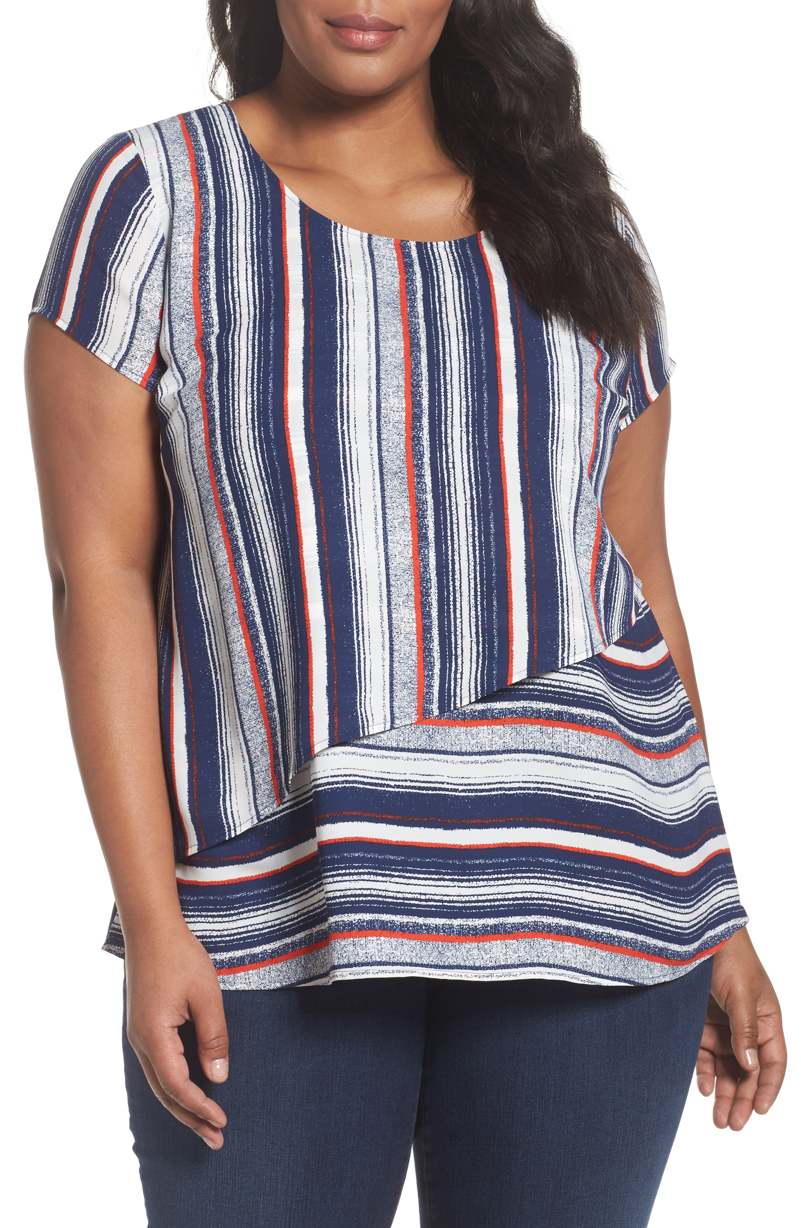 Asymmetrical Double Layer Top,                         Main,                         color, Ivory- Red Textured Stripe
