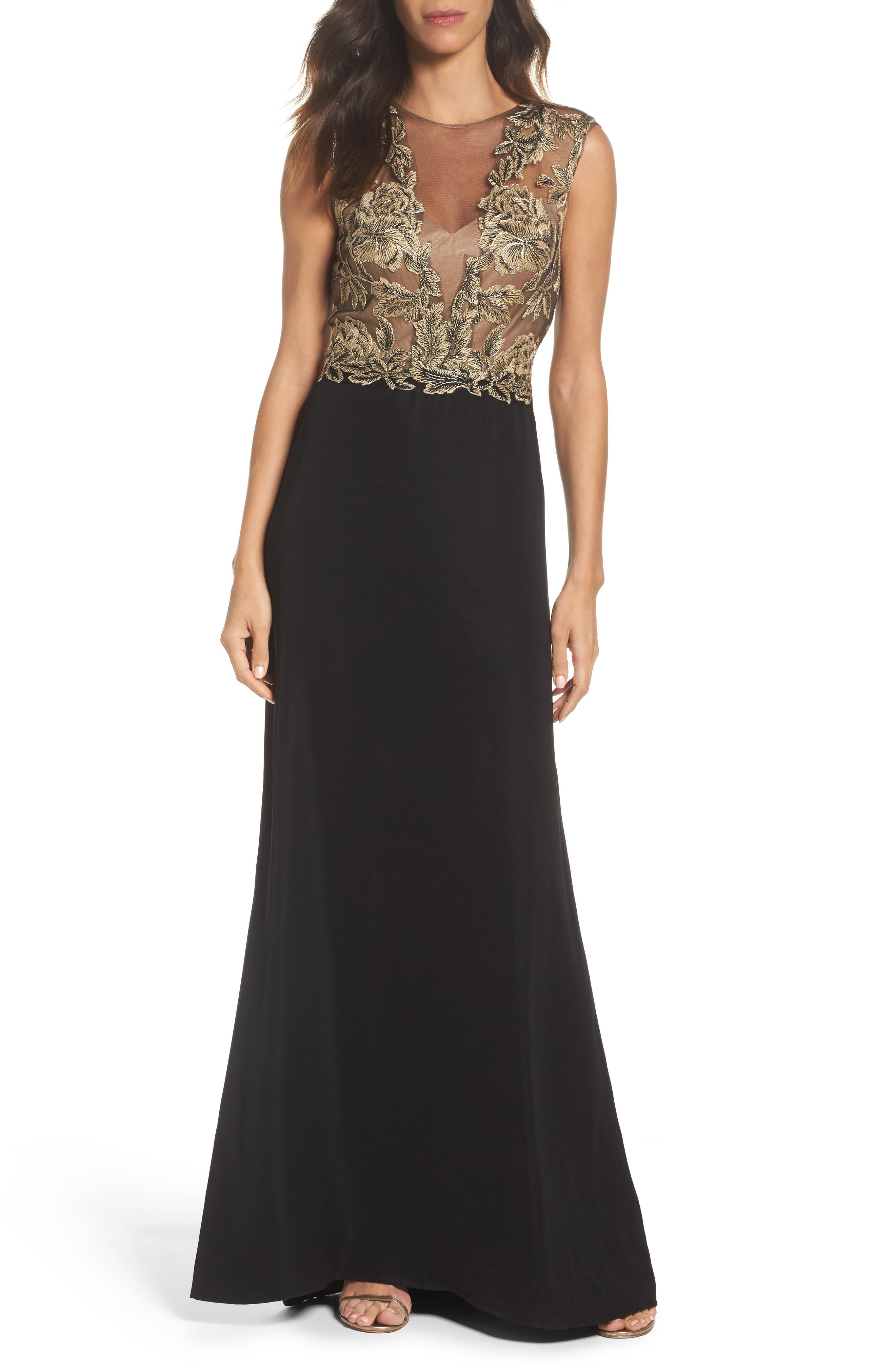 Embroidered Mesh & Crepe Gown,                             Main thumbnail 1, color,                             Light Peach/ Black