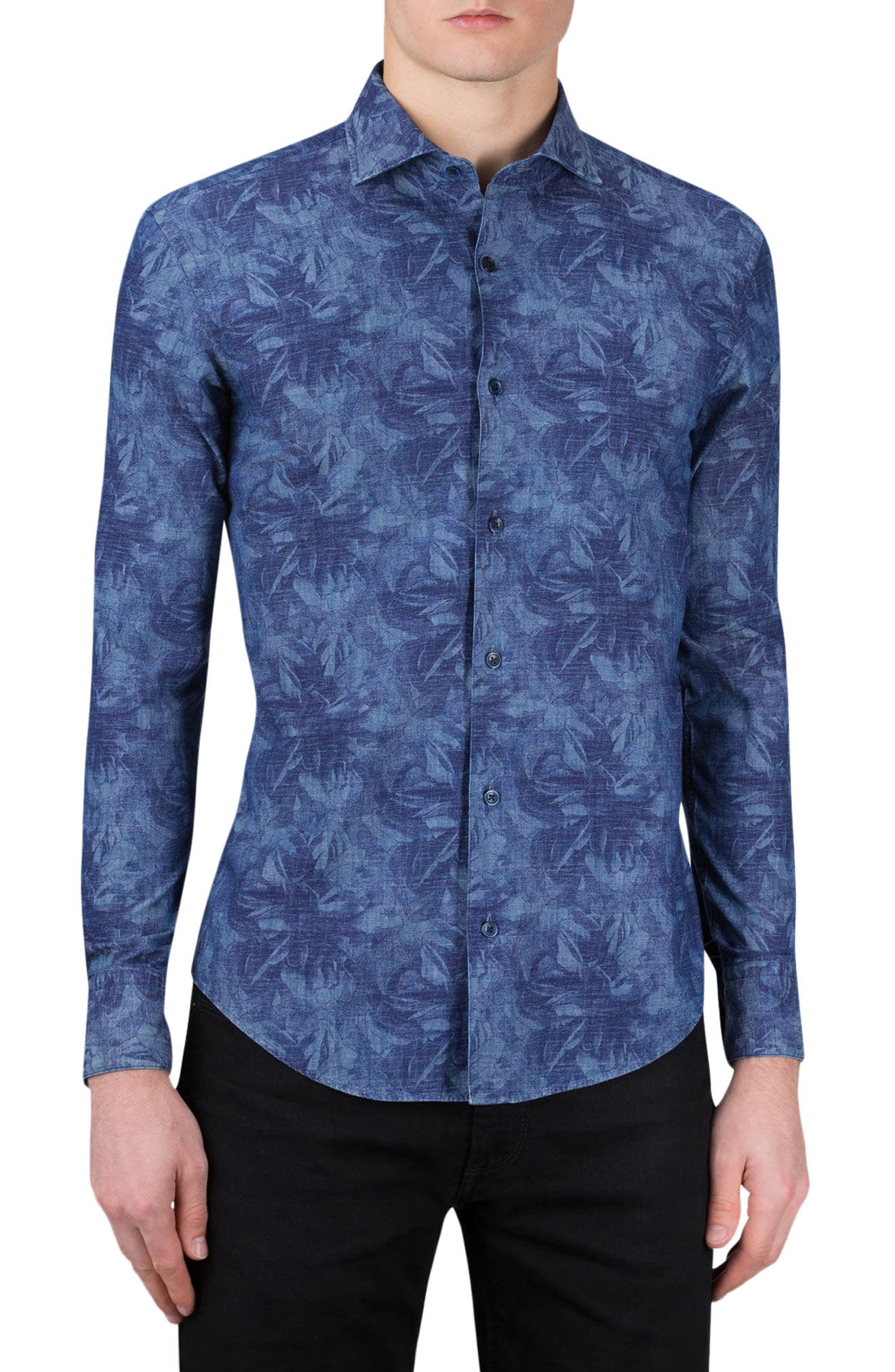 BUGATCHI Classic Fit Shadow Flower Print Sport Shirt