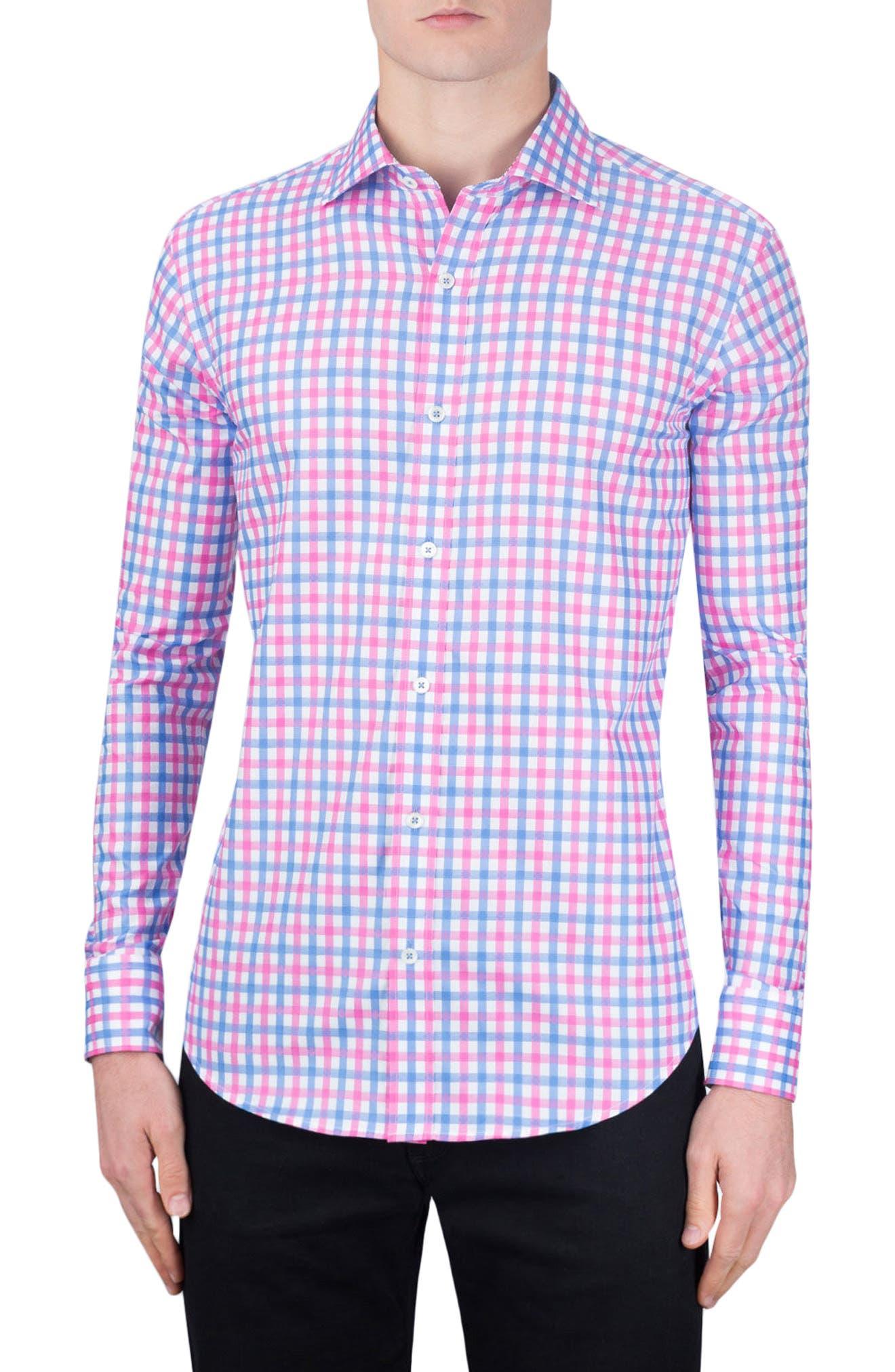 Shaped Fit Check Sport Shirt,                             Main thumbnail 1, color,                             Pink