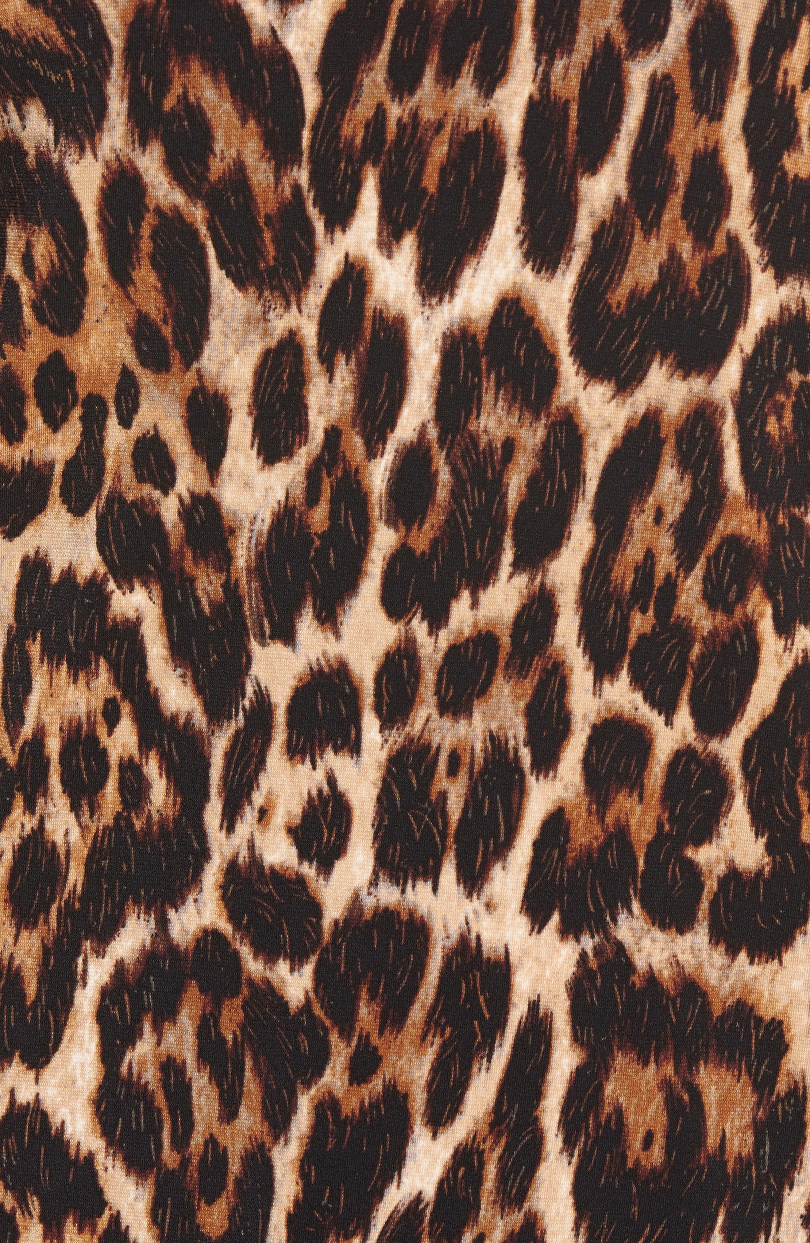 Leopard Print Pleat V-Neck Top,                             Alternate thumbnail 5, color,                             Baton Combo
