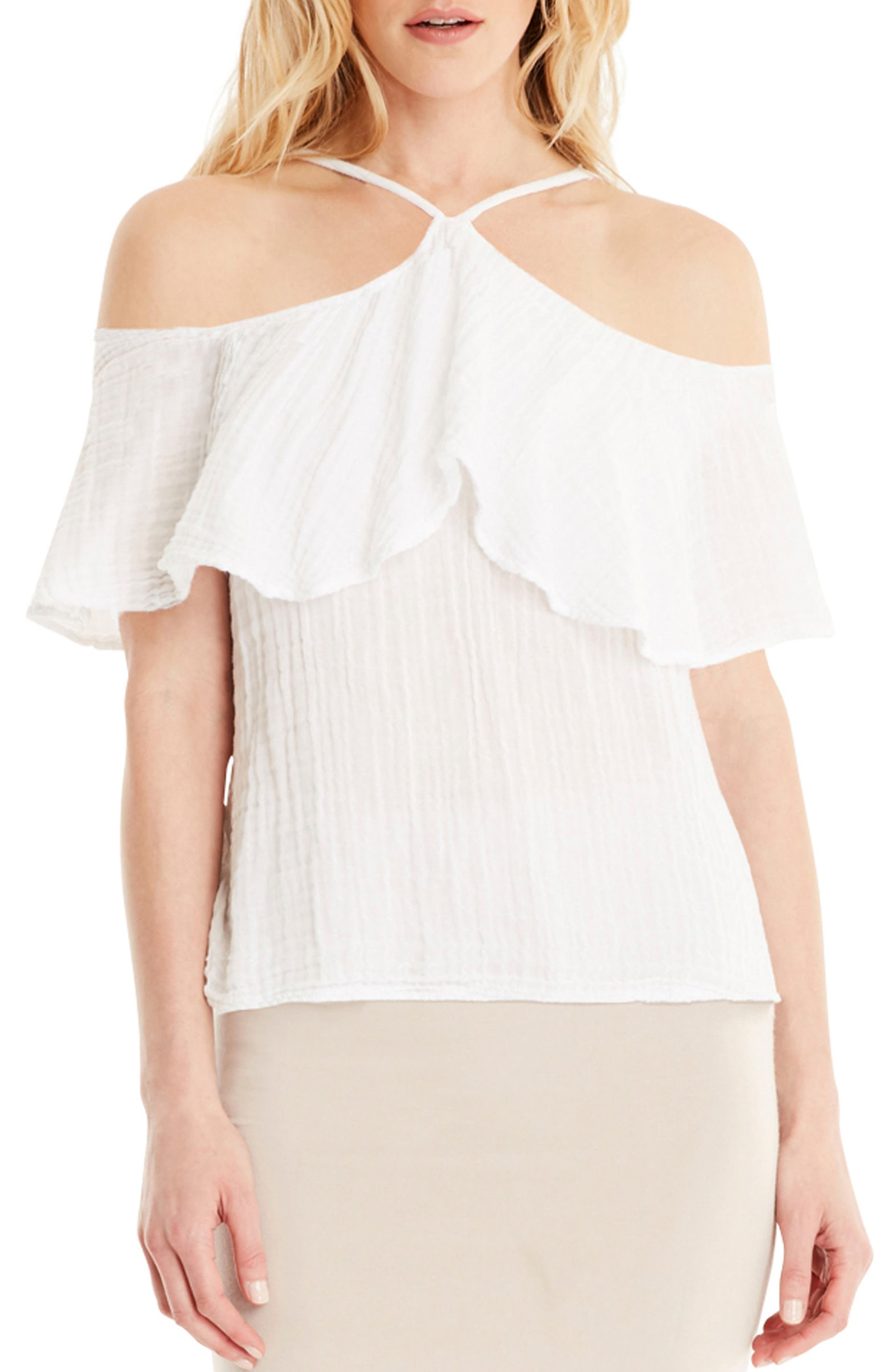 Cold Shoulder Top,                         Main,                         color, White