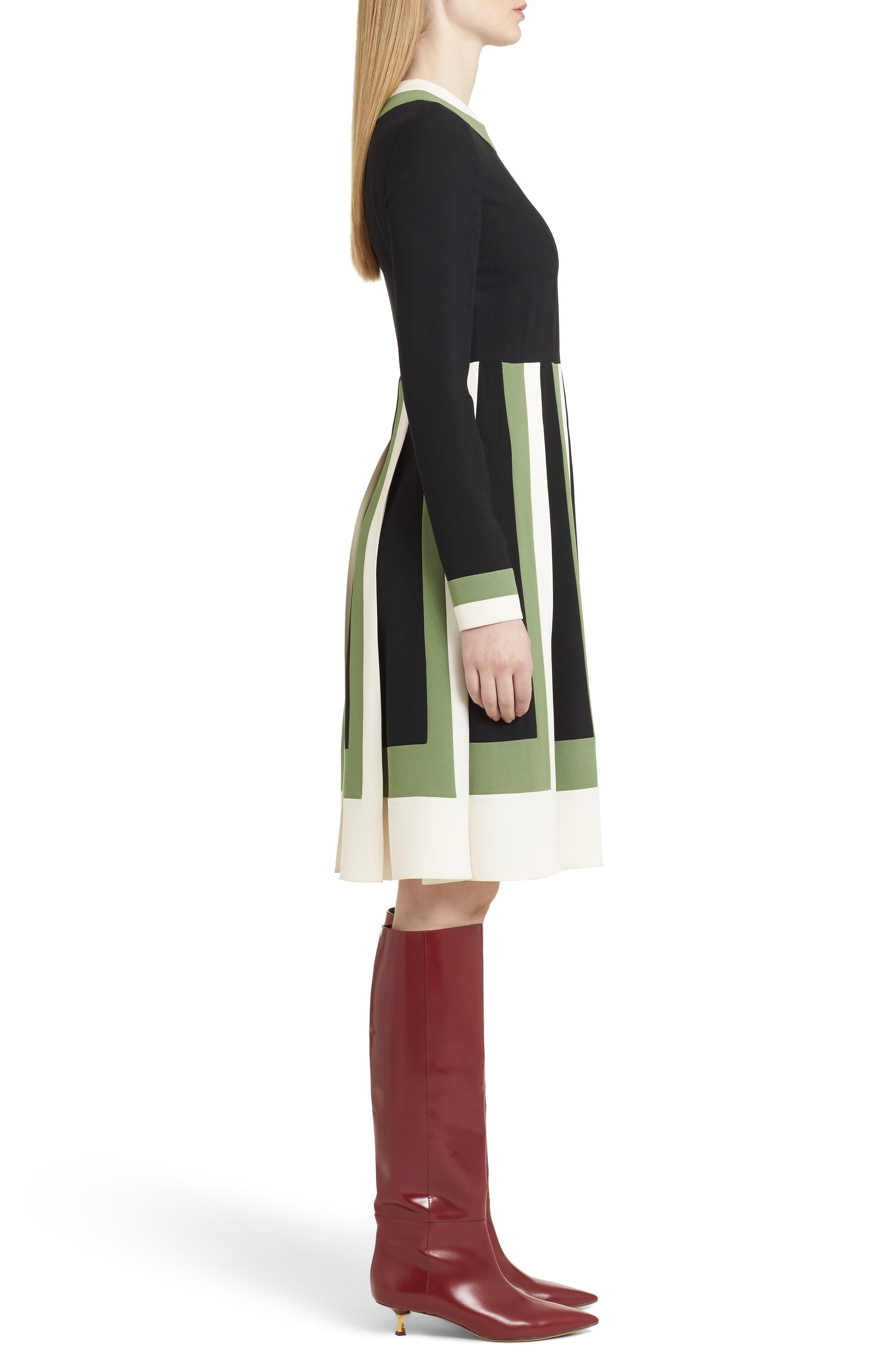 Multicolor Pleat Crepe Dress,                             Alternate thumbnail 4, color,                             Ivory/ Black/ Green