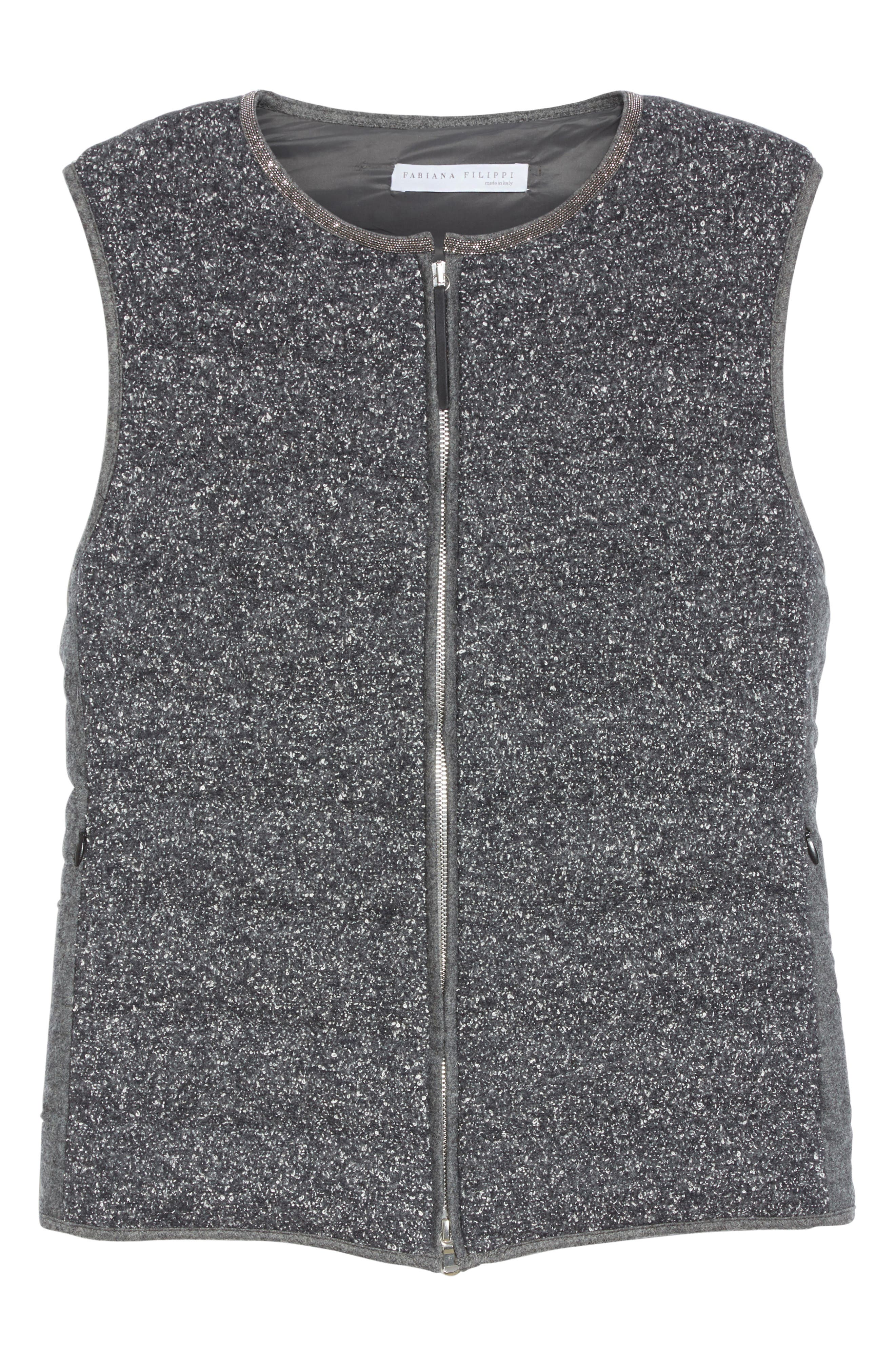 Alternate Image 4  - Fabiana Filippi Pebbled Knit Front Quilted Down Vest