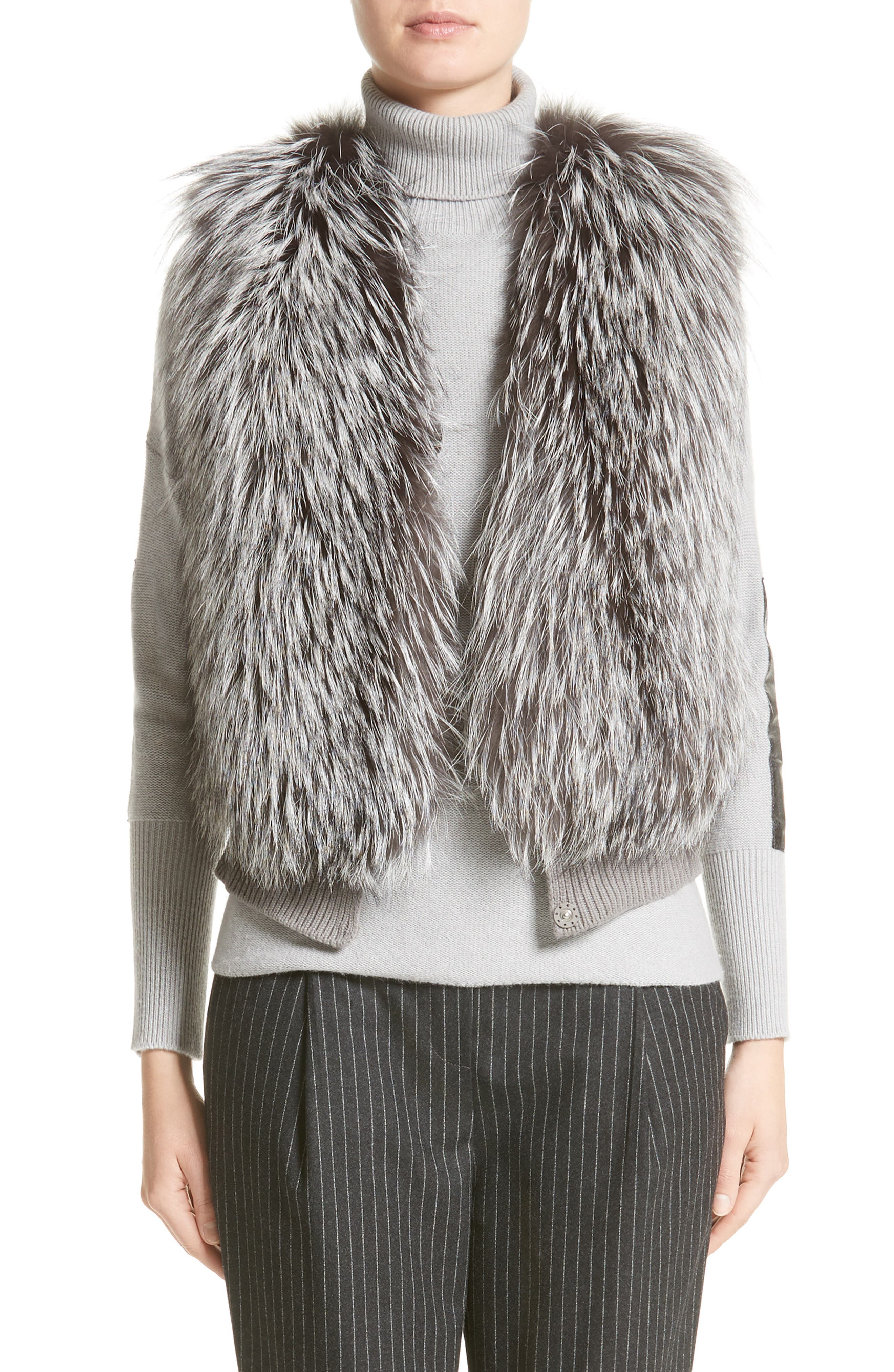 Fabiana Filippi Wool, Silk & Cashmere Knit Vest with Genuine Fox Fur Front