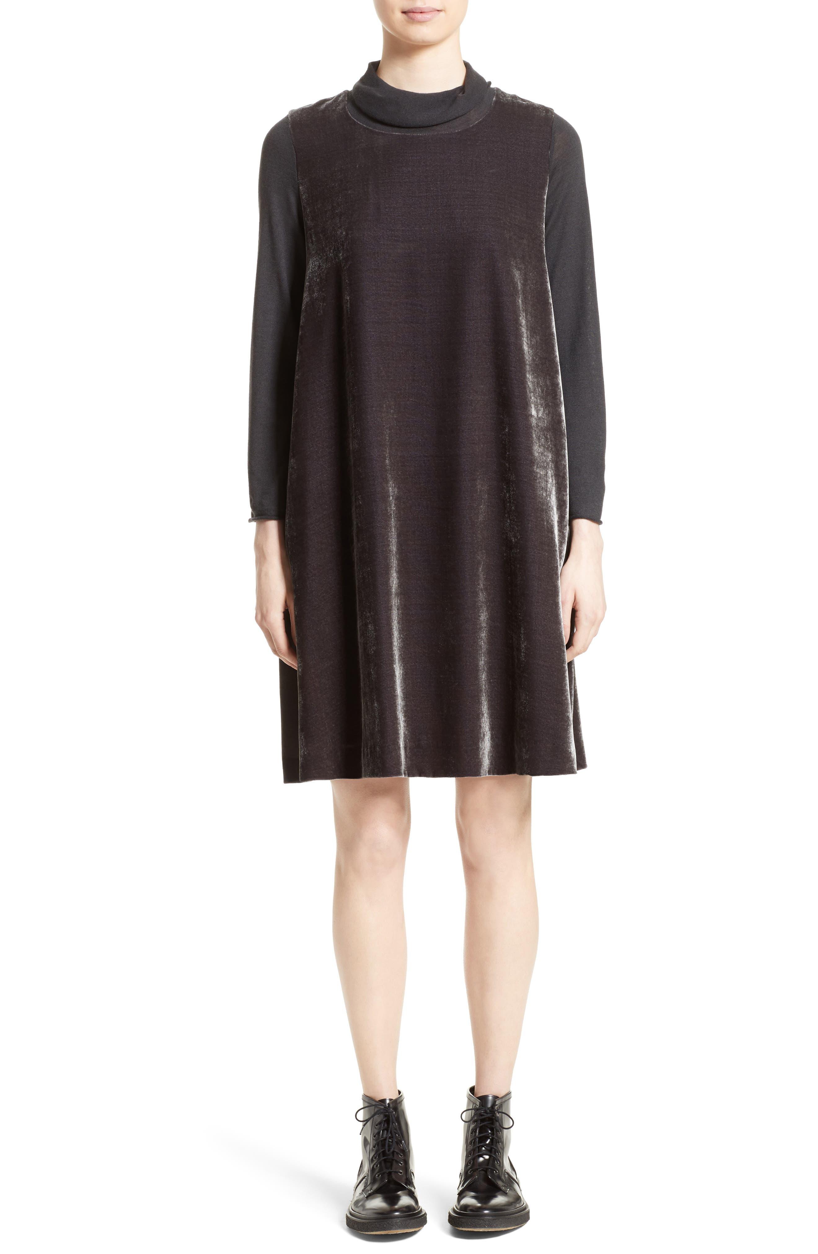 Velvet Turtleneck Dress,                             Main thumbnail 1, color,                             Charcoal