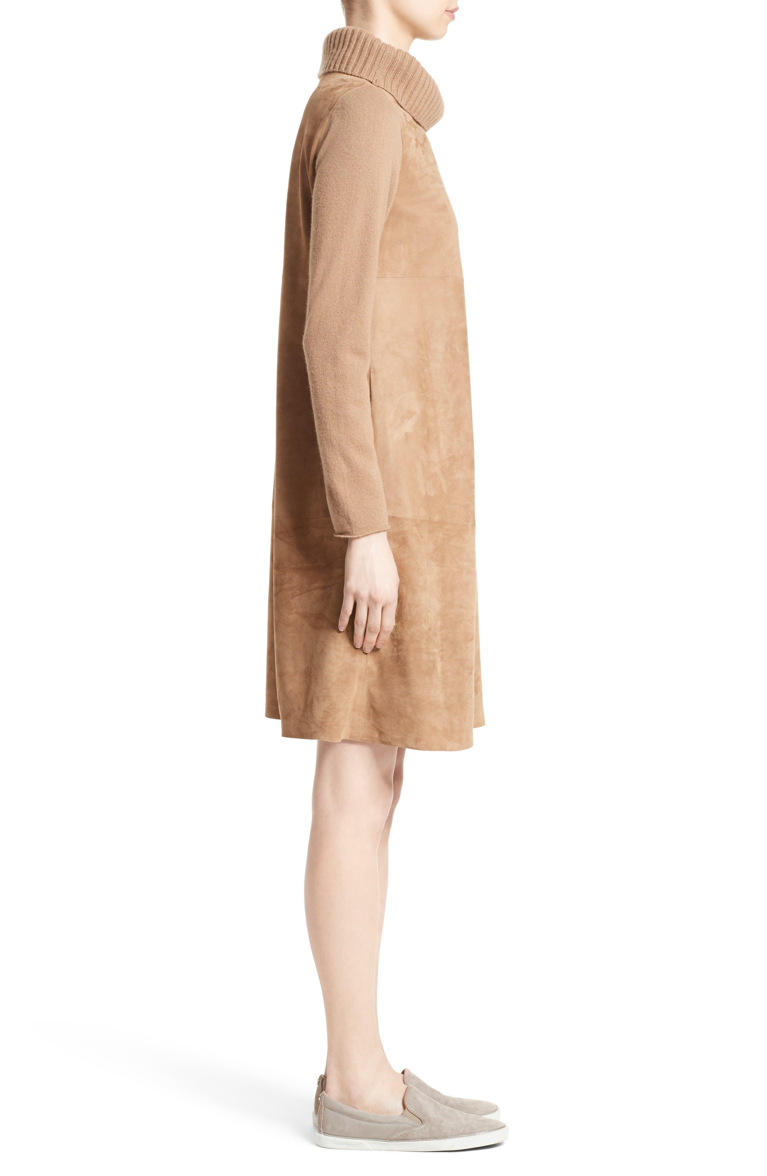 Suede & Cashmere Dress,                             Alternate thumbnail 6, color,                             Camel
