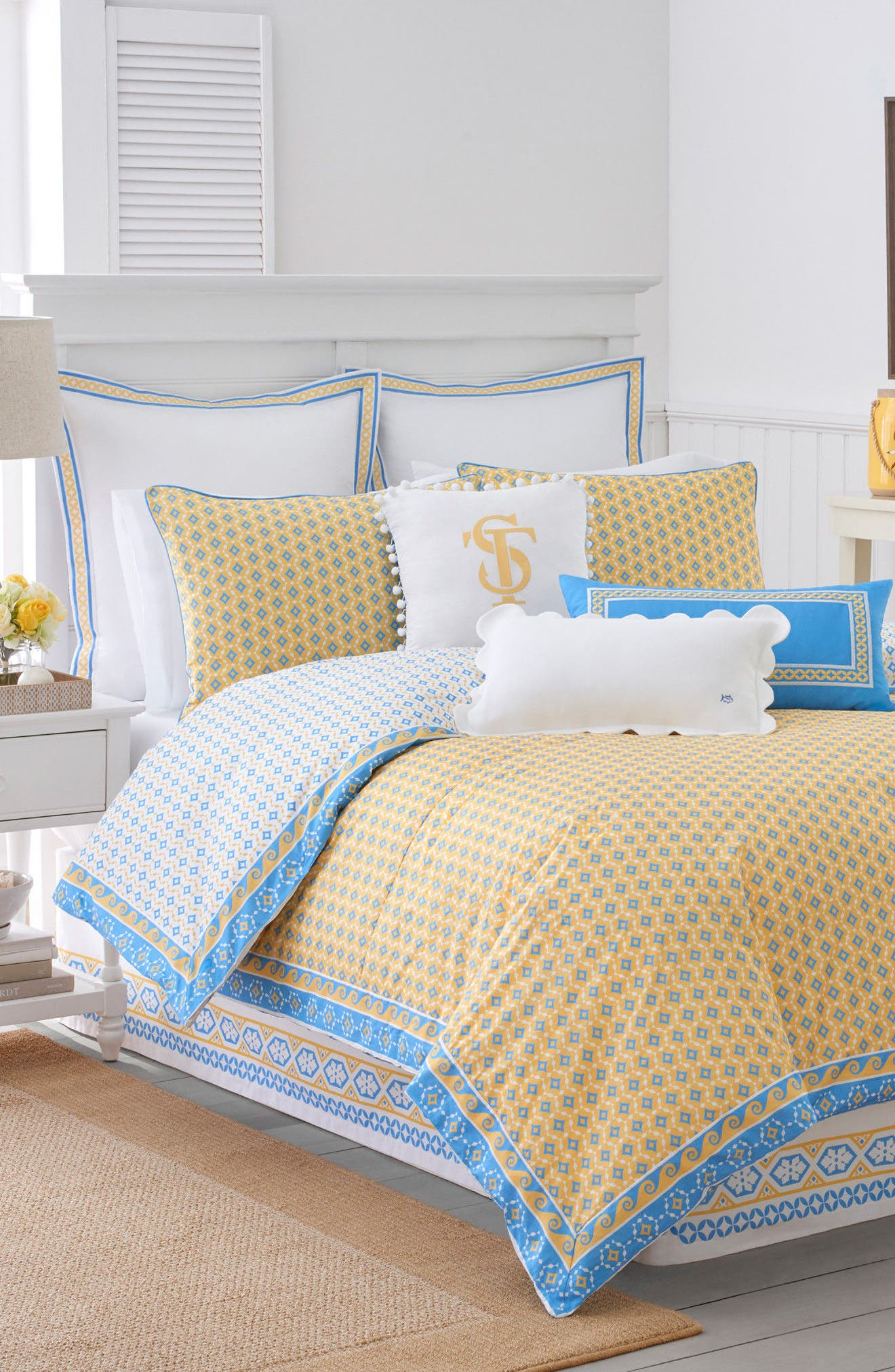 Sailgate Comforter, Sham & Bed Skirt Set,                             Main thumbnail 1, color,                             Yellow