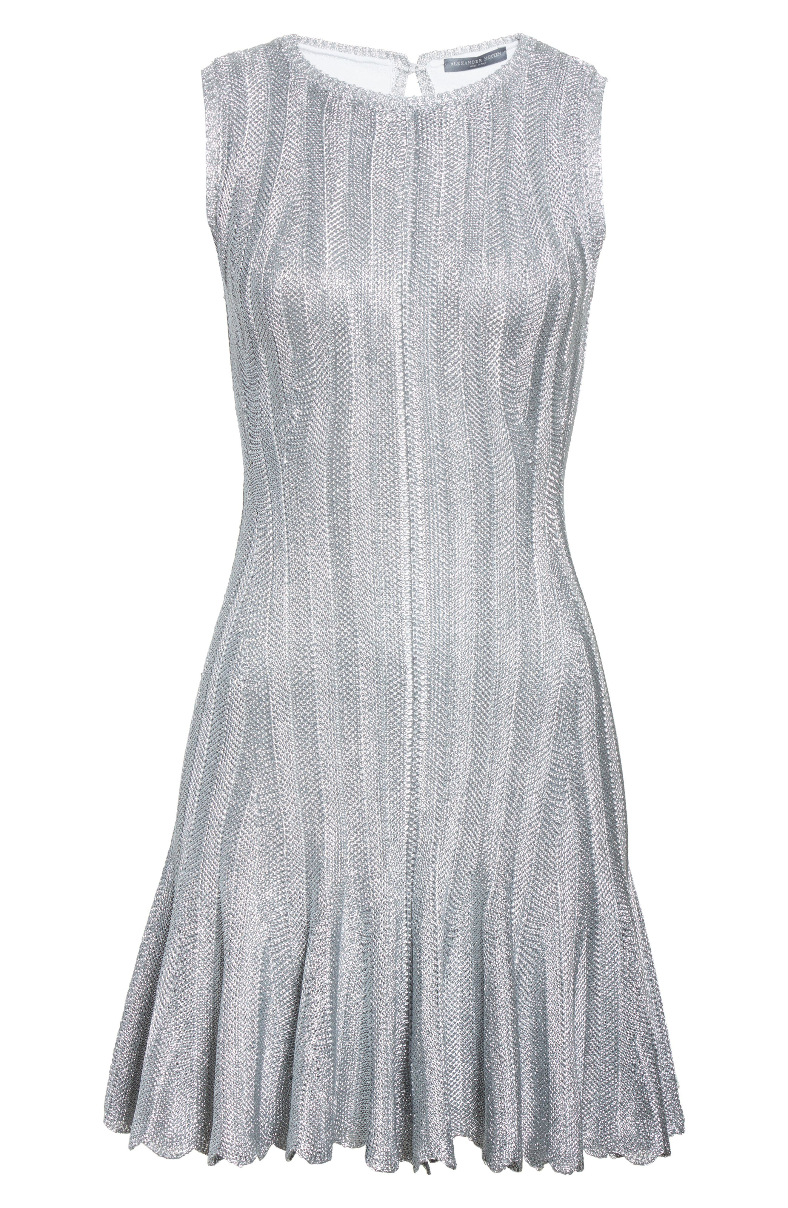 Metallic Knit Fit & Flare Dress,                             Alternate thumbnail 4, color,                             Silver Metallic