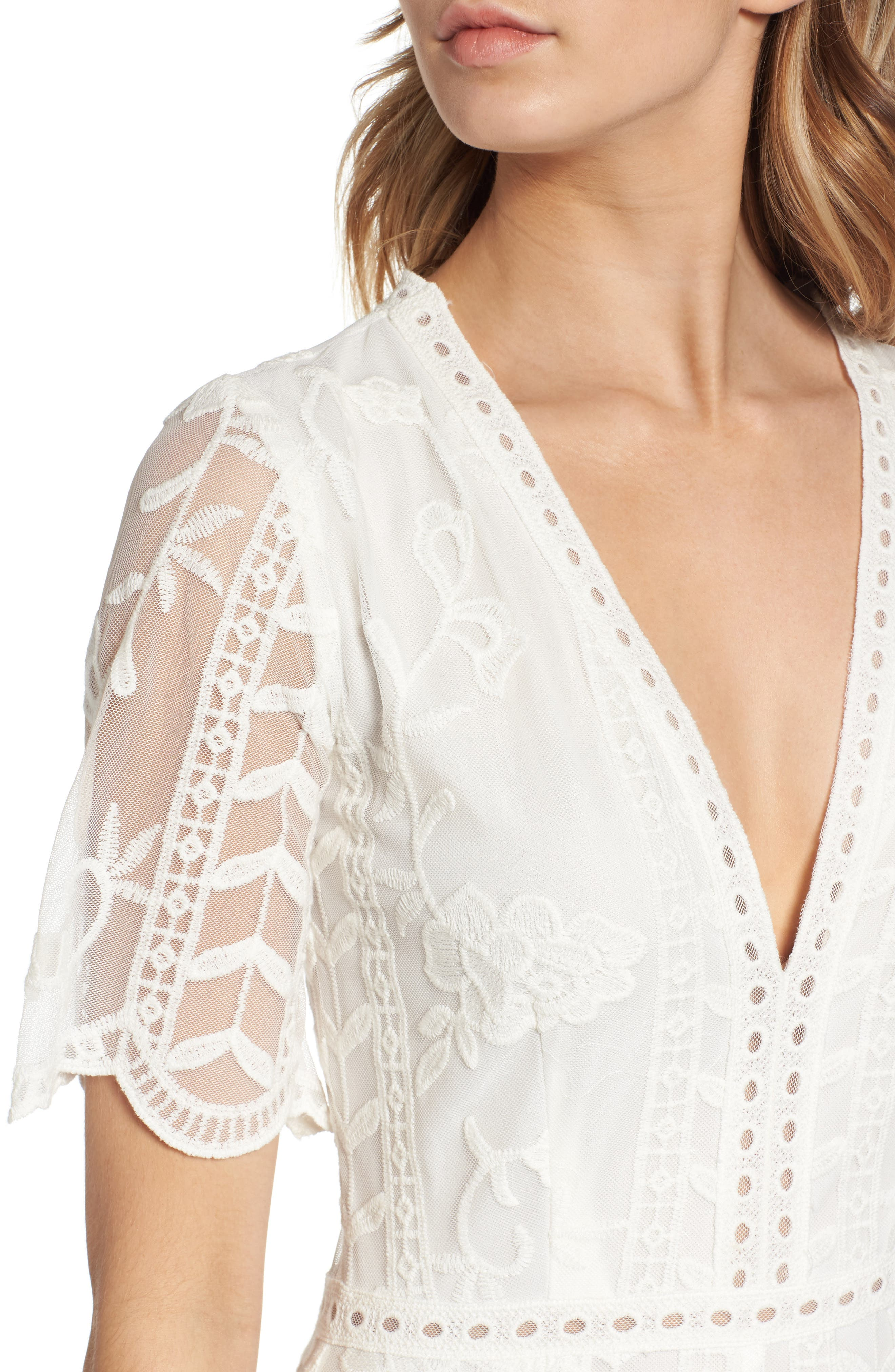 Plunging Lace Romper,                             Alternate thumbnail 4, color,                             Ivory