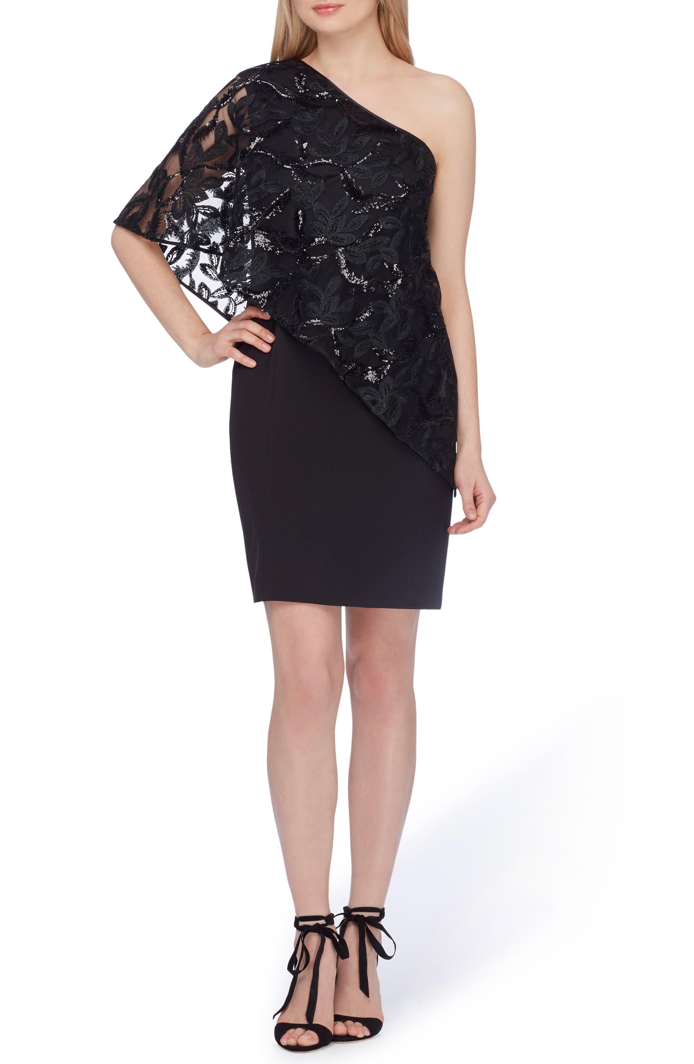 One-Shoulder Sequin Dress,                         Main,                         color, Black