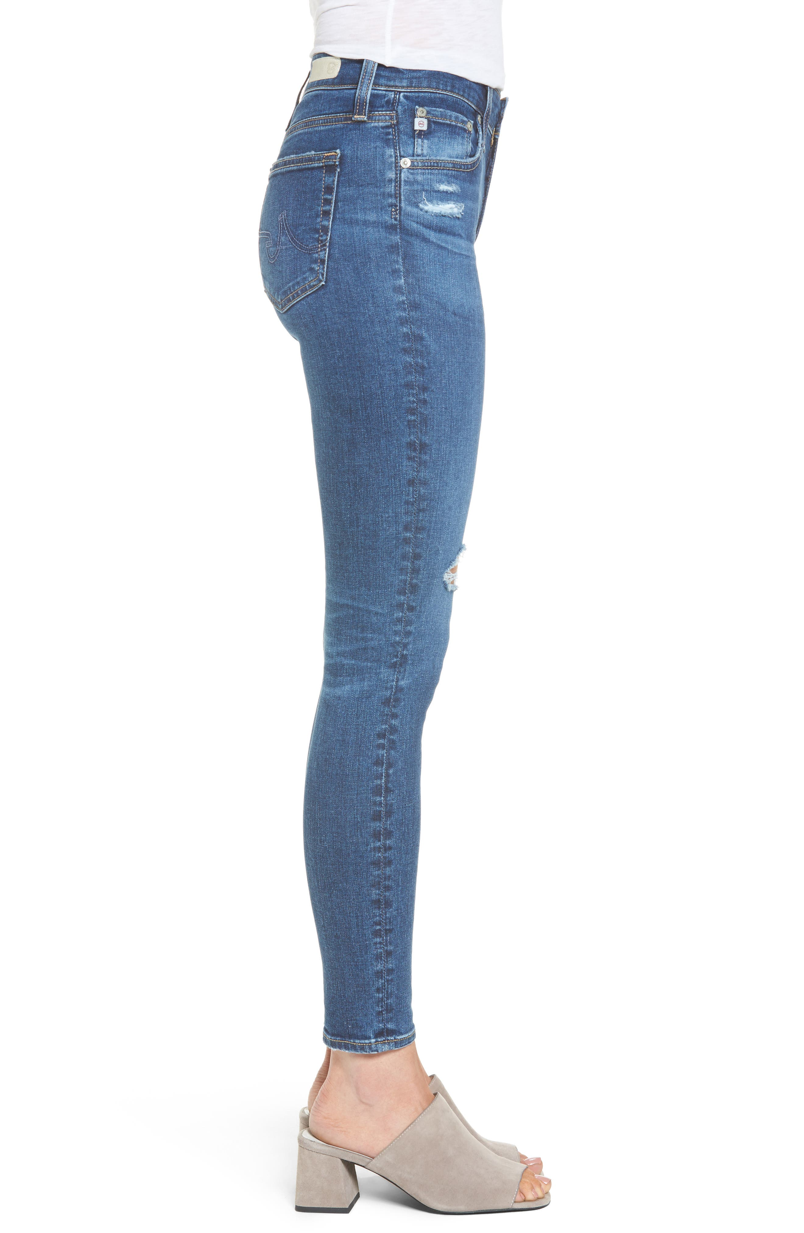 Alternate Image 3  - AG The Farrah High Waist Ankle Skinny Jeans (13 Years Day Break Destroyed)