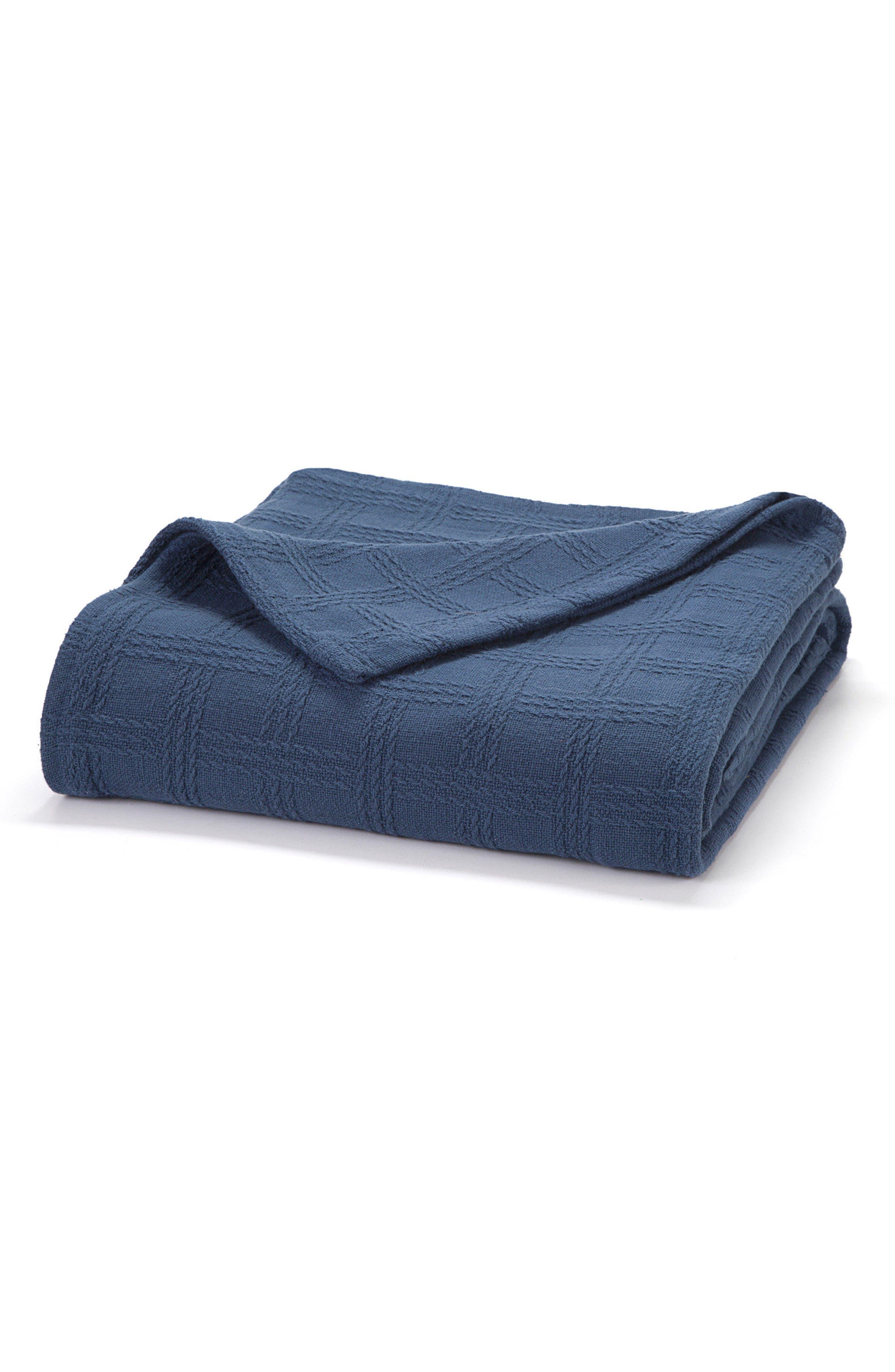 Classic Cotton Twin Size Blanket,                         Main,                         color, Nautical Blue