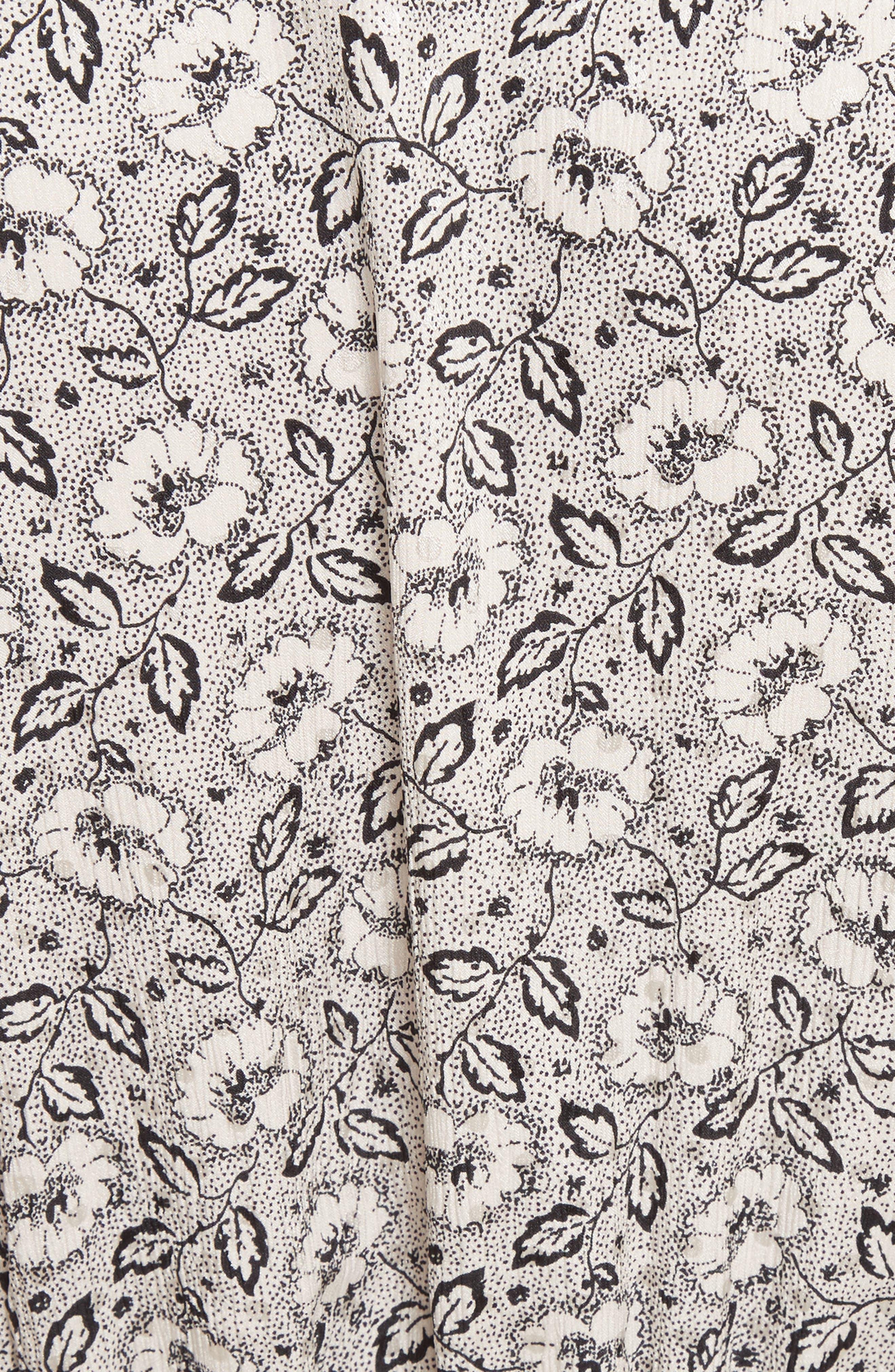 Floral A-Line Silk Dress,                             Alternate thumbnail 5, color,                             Cream Combo