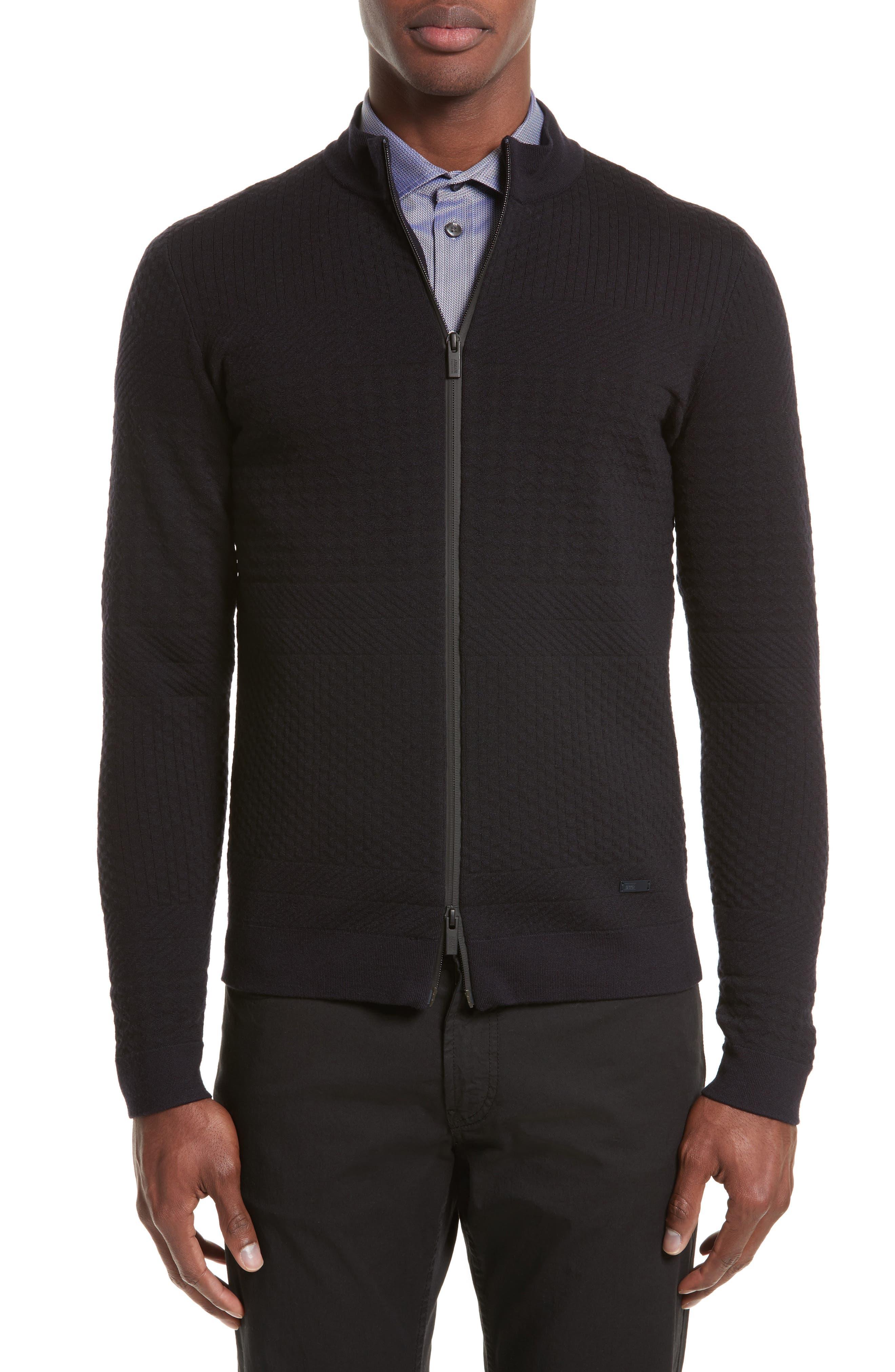 Full Zip Jacquard Sweater,                         Main,                         color, Navy Blue