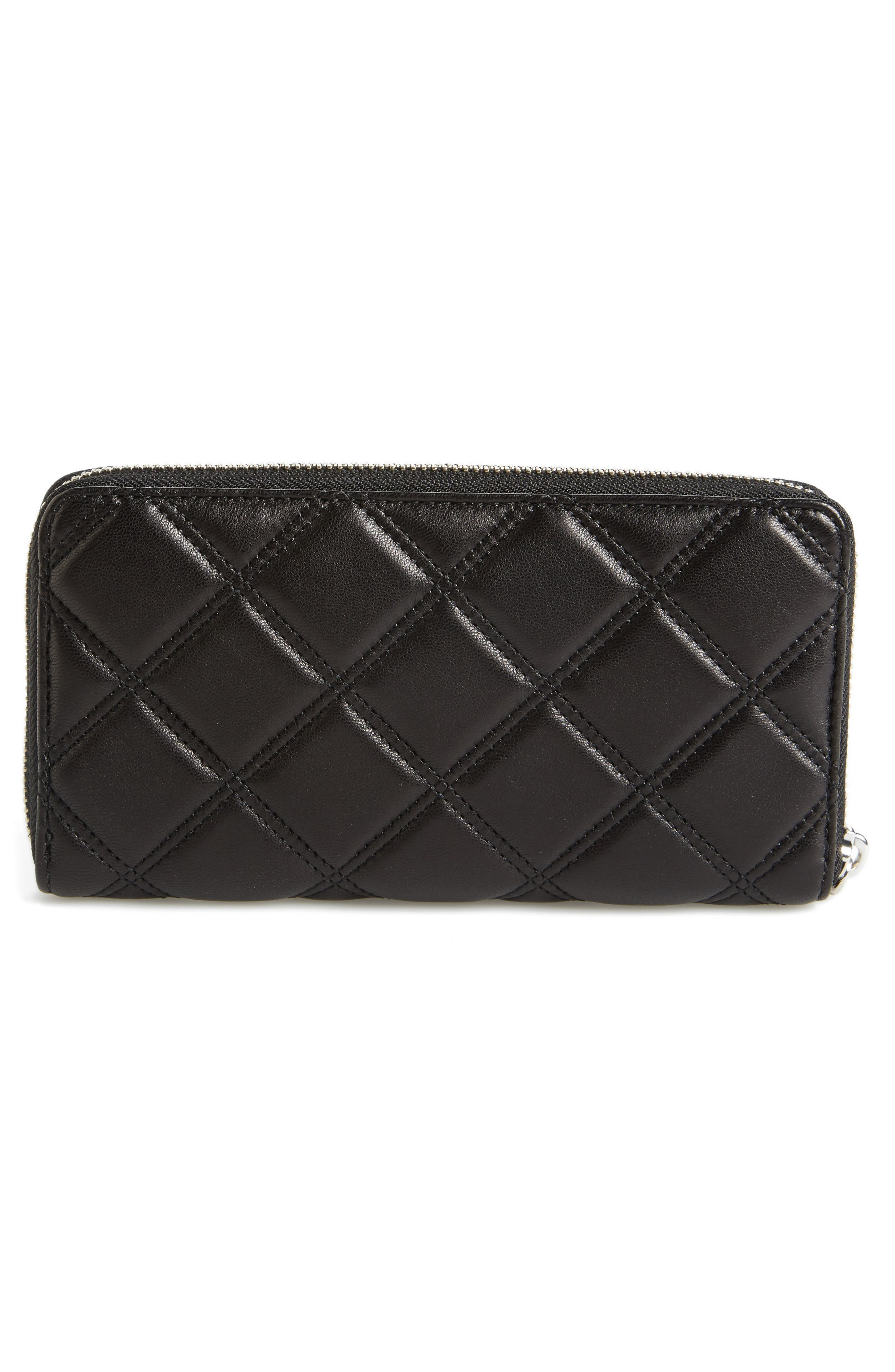 Quilted Leather Zip Wallet,                             Alternate thumbnail 4, color,                             Black