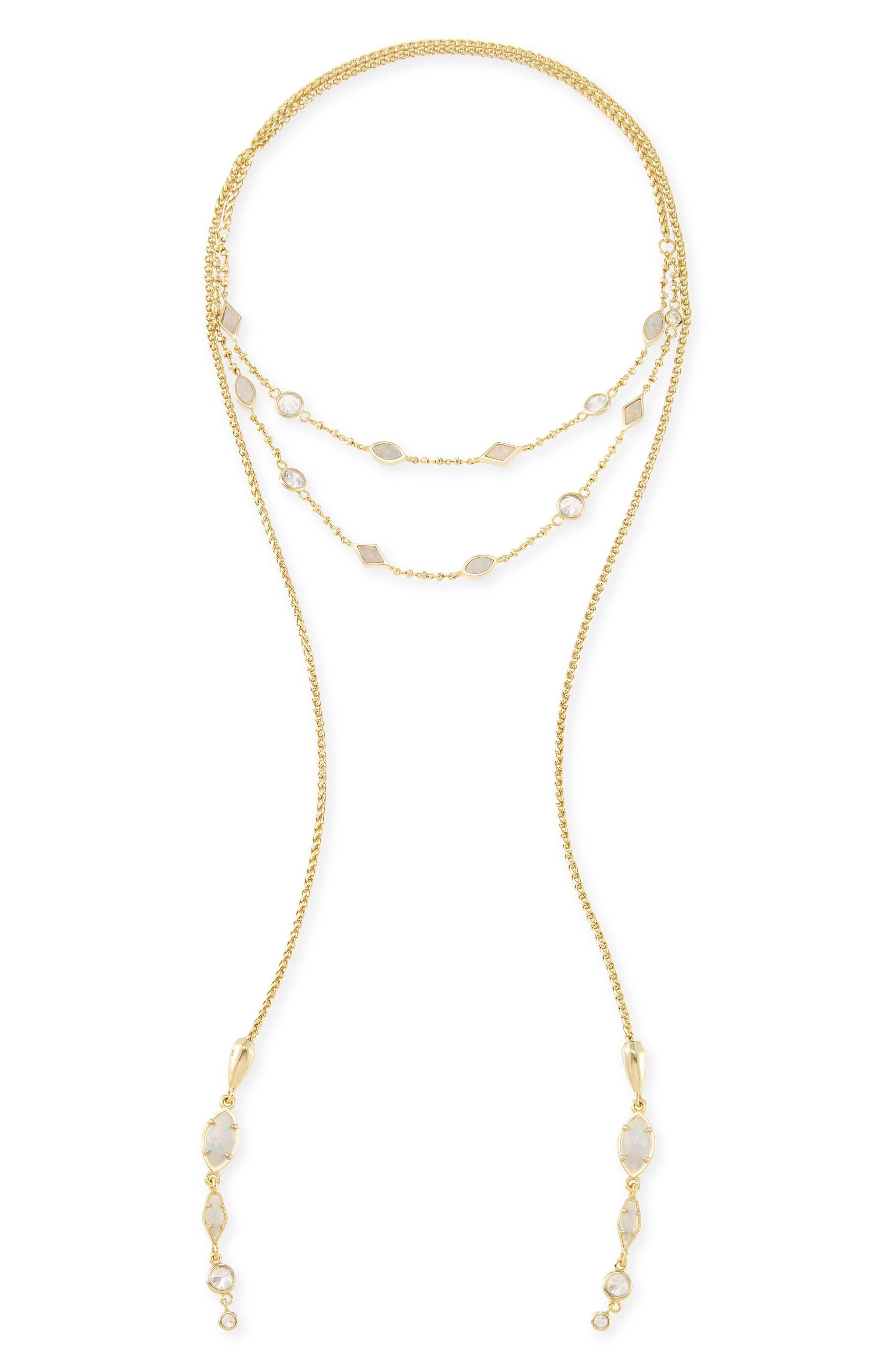 Emelina Wrap Necklace,                             Alternate thumbnail 5, color,                             Ivory Zellige/ Gold