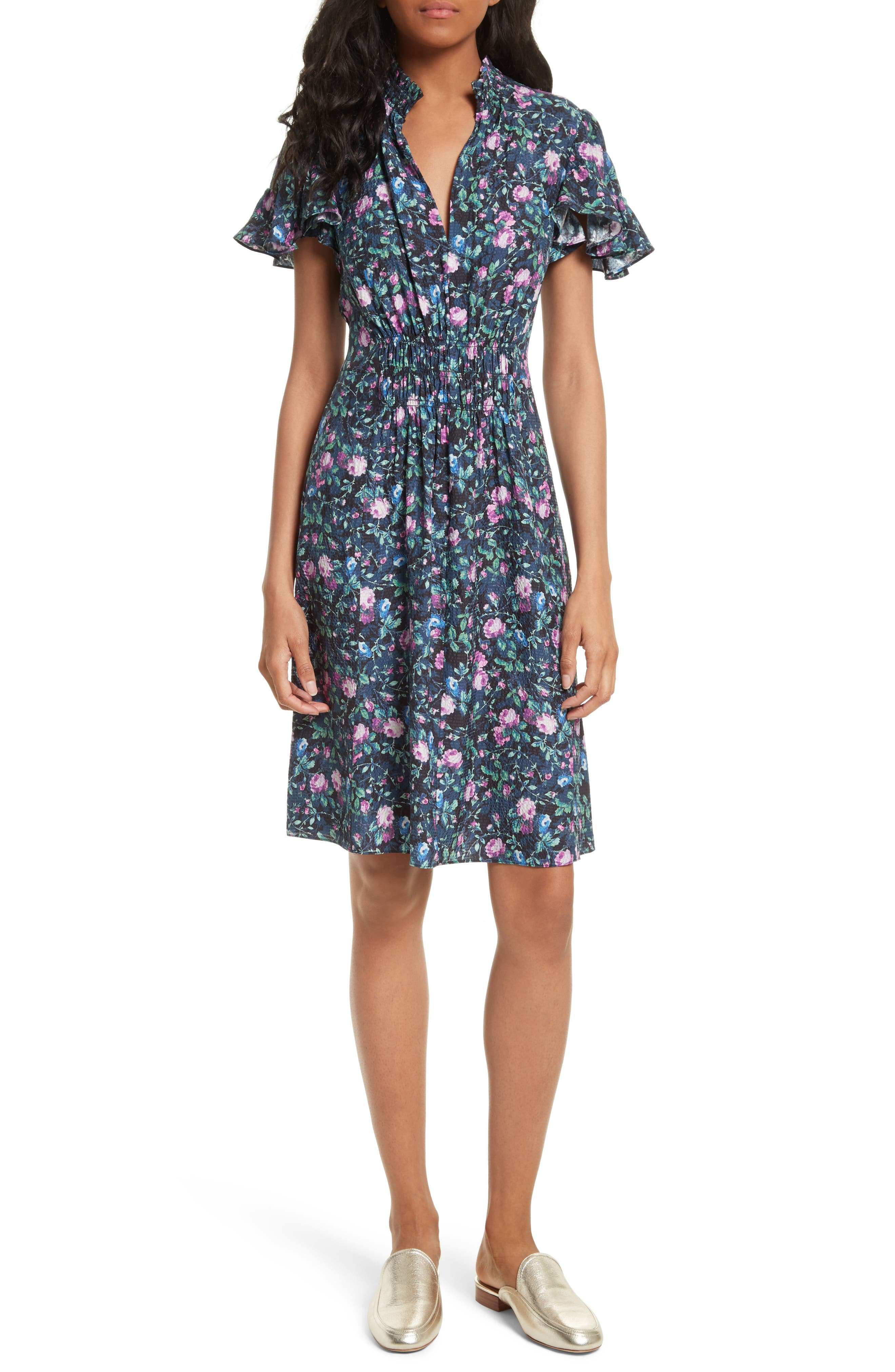 Ruby Floral Smocked Silk Dress,                         Main,                         color, Dark Navy Combo
