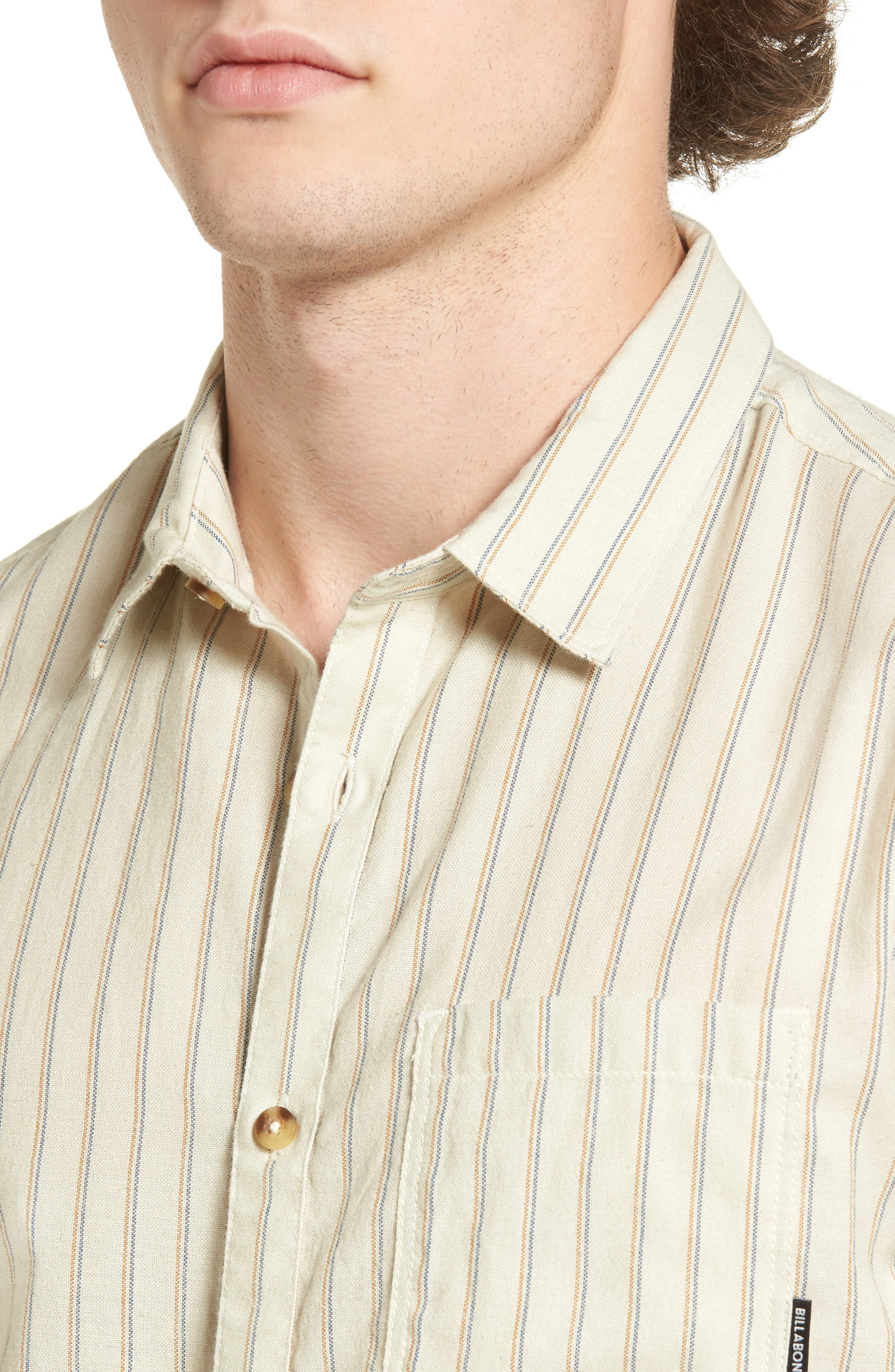 Kelso Tailored Fit Stripe Shirt,                             Alternate thumbnail 4, color,                             Stone
