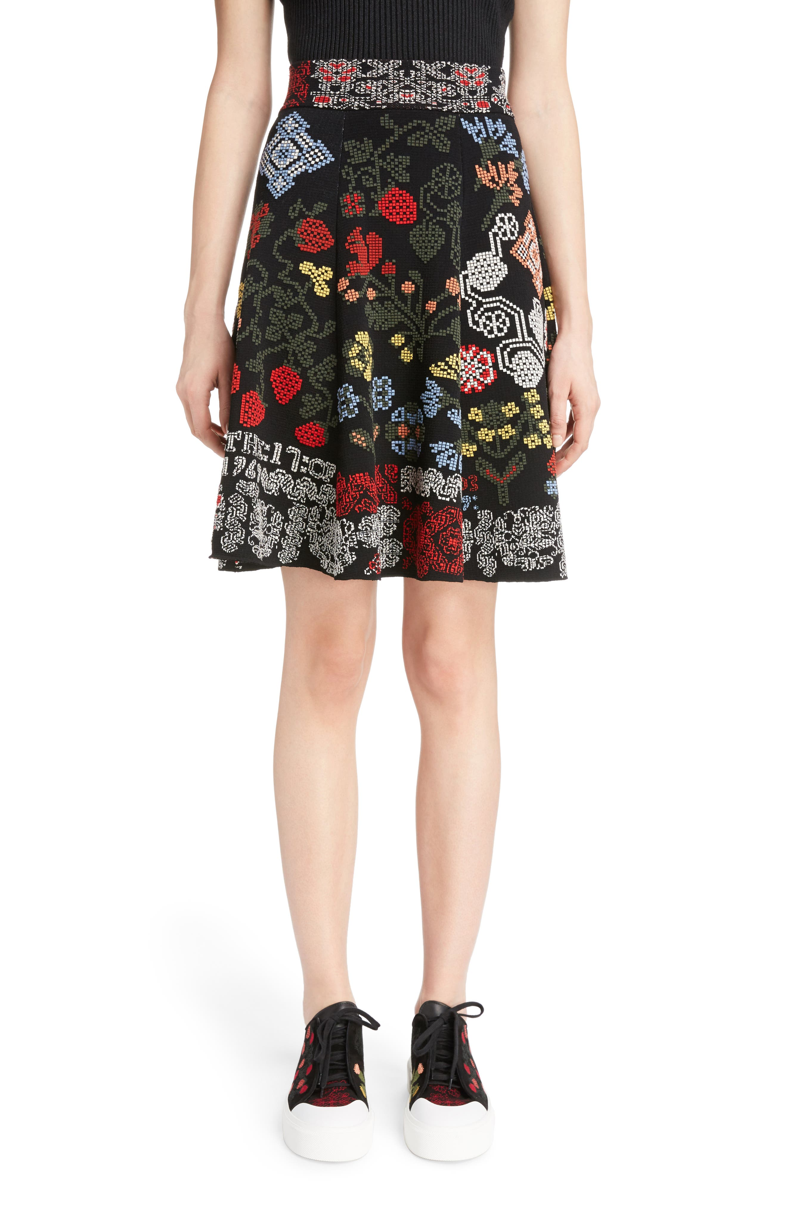 ALEXANDER MCQUEEN Cross Stitch Jacquard Skirt
