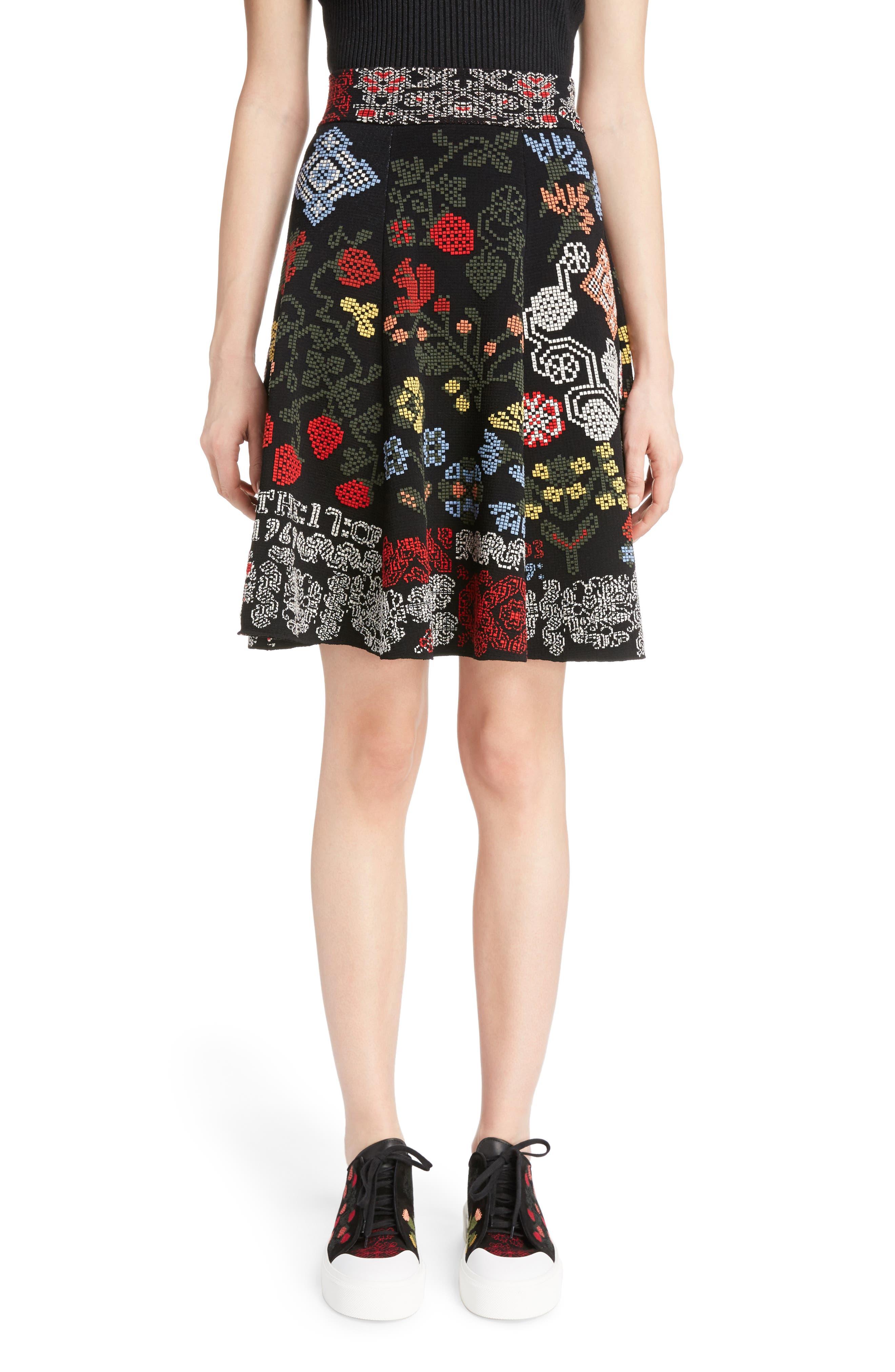 Cross Stitch Jacquard Skirt,                             Main thumbnail 1, color,                             Black Multi