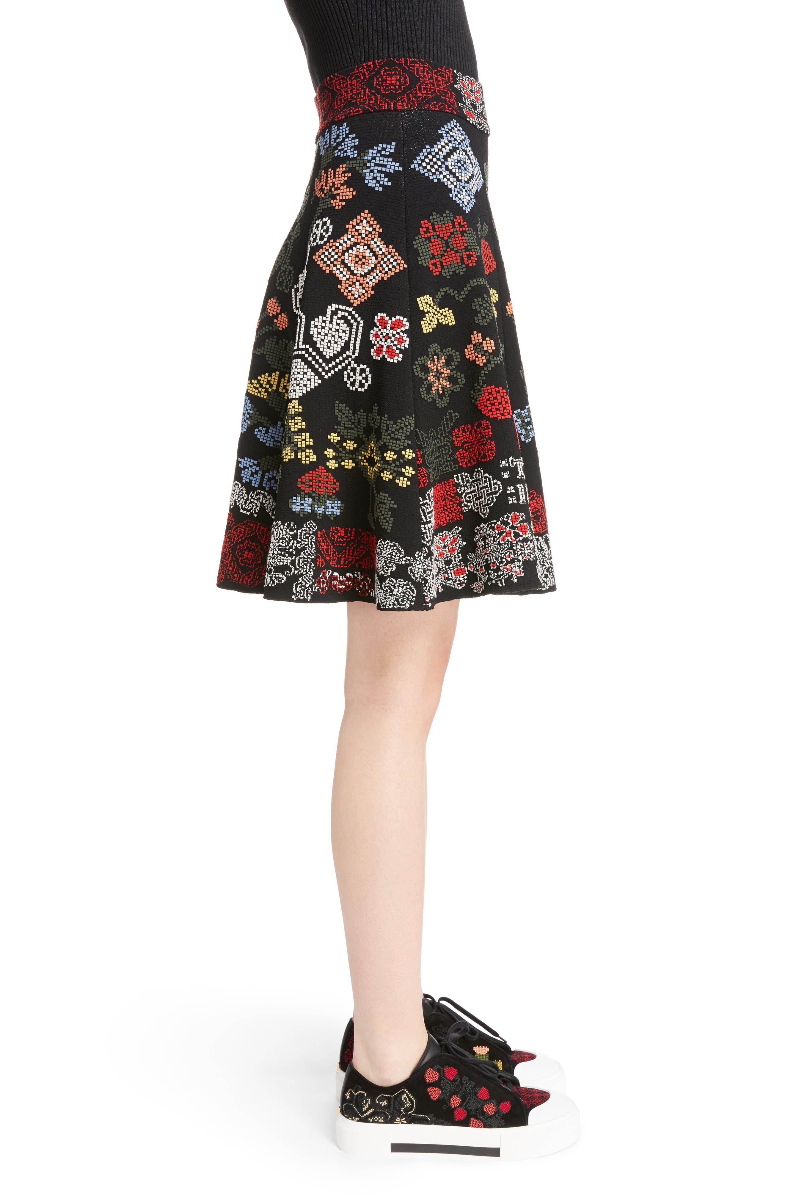 Cross Stitch Jacquard Skirt,                             Alternate thumbnail 3, color,                             Black Multi