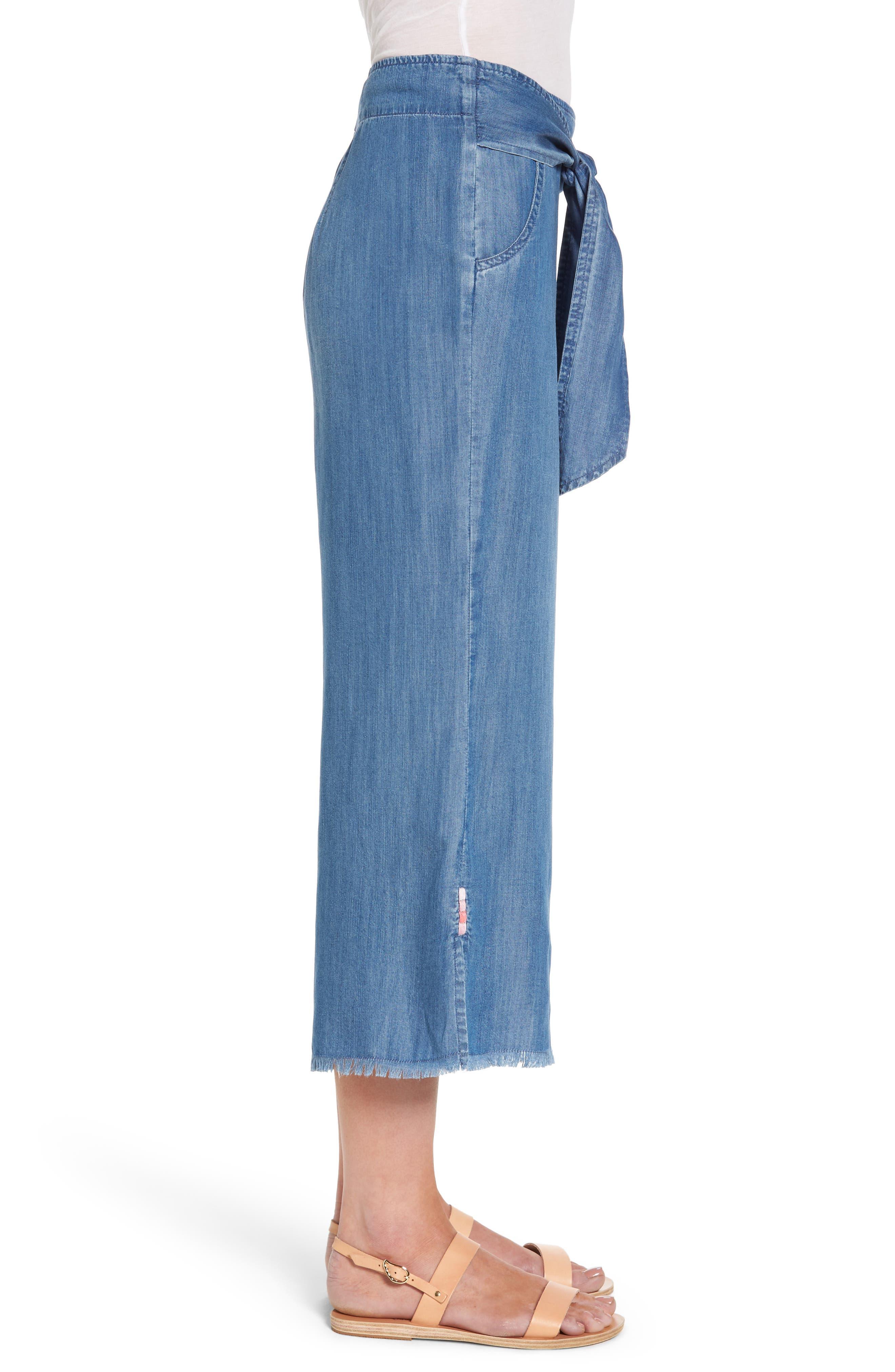 Tie Front Crop Chambray Pants,                             Alternate thumbnail 3, color,                             Medium Blue