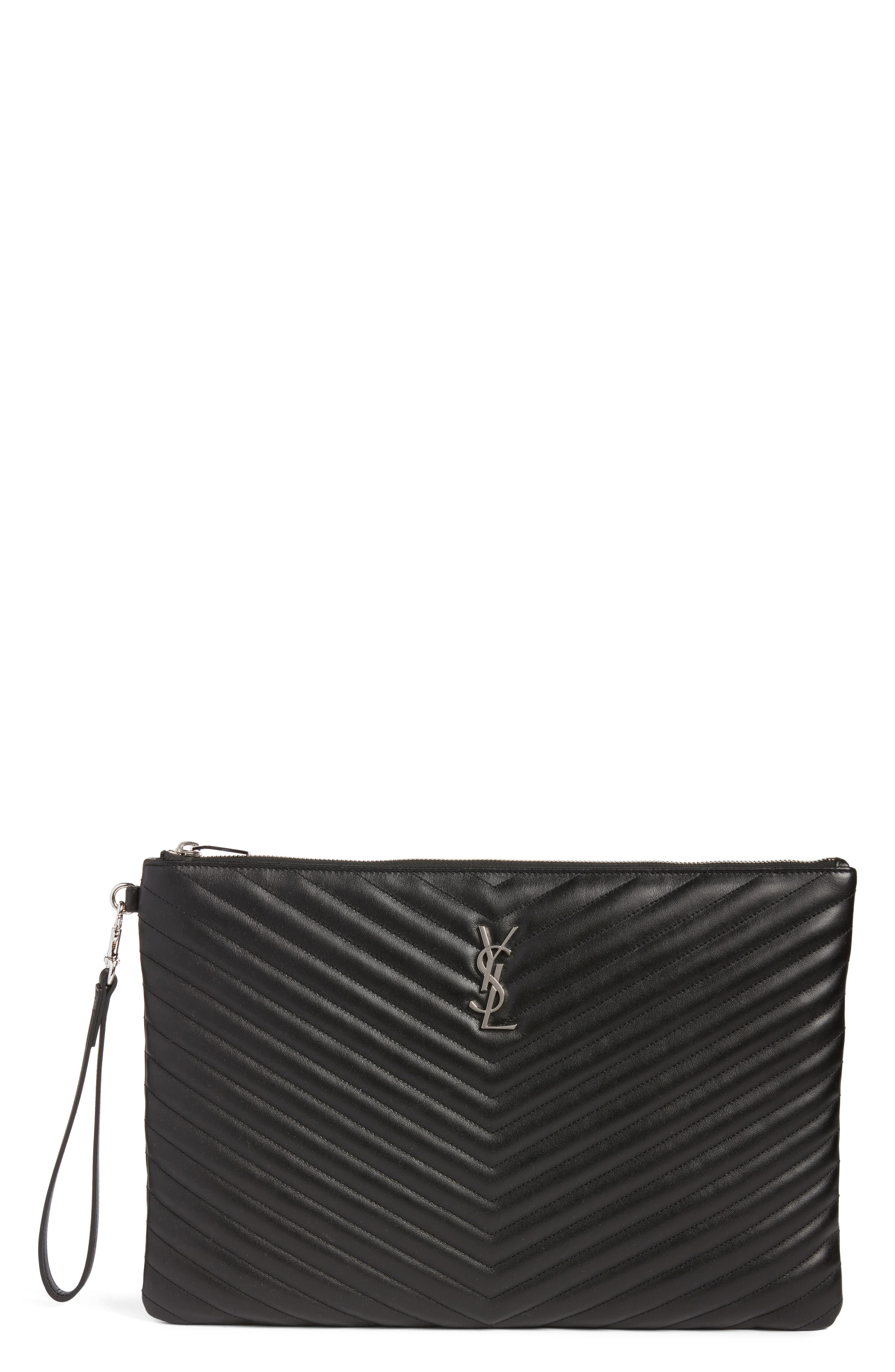 Saint Laurent Large Monogram Matelassé Leather Pouch