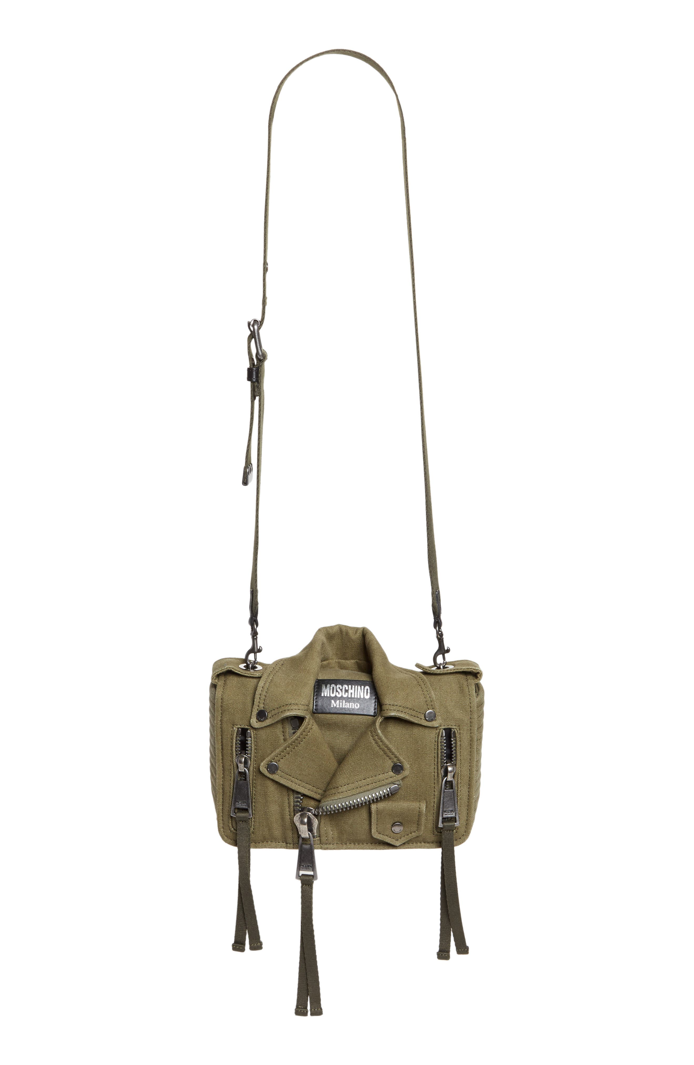 Small Biker Jacket Shoulder Bag,                         Main,                         color, Olive