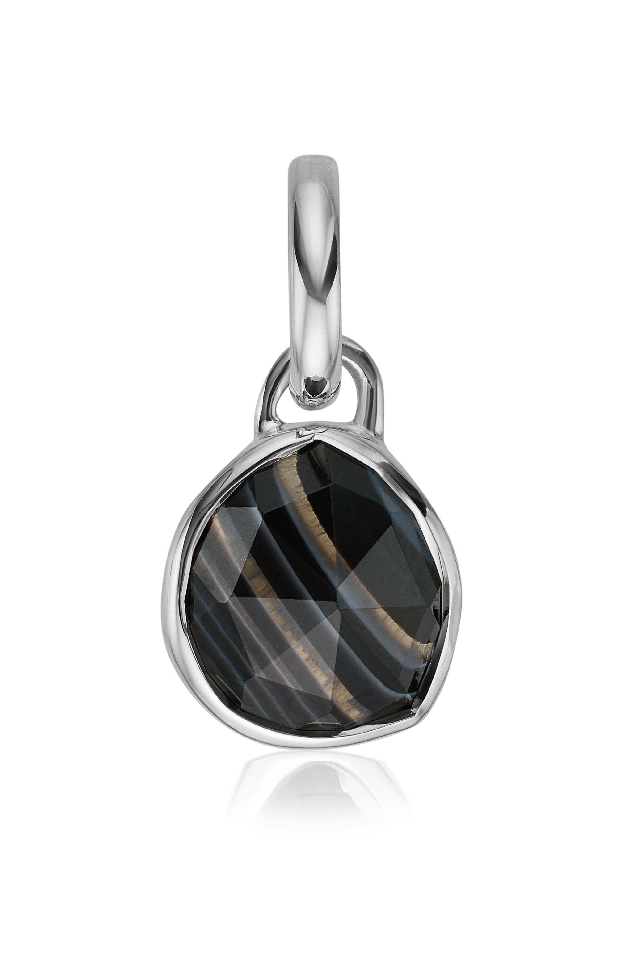 Siren Black Line Onyx Pendant,                             Main thumbnail 1, color,                             Silver/ Black Line Onyx