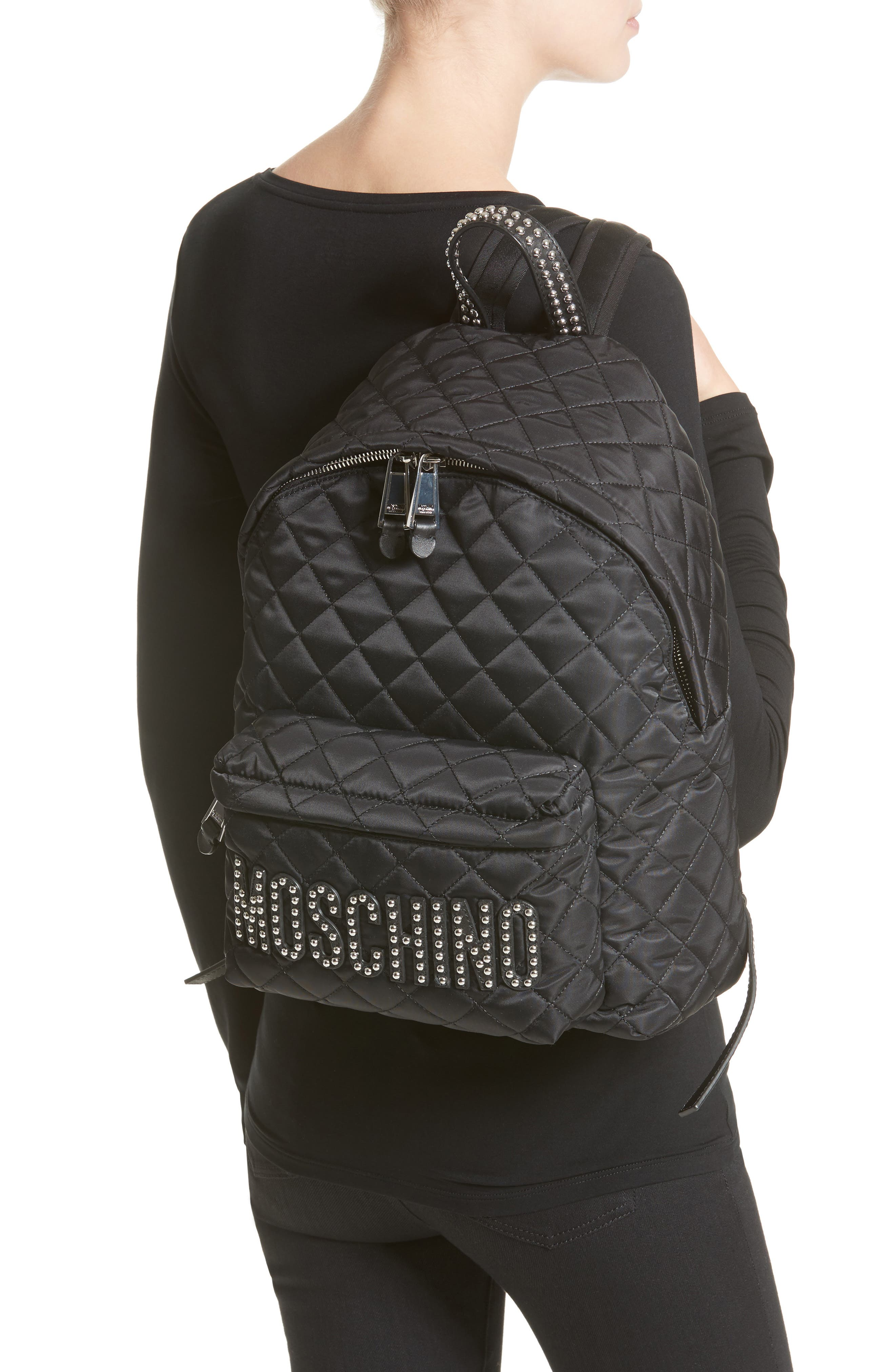 Alternate Image 2  - Moschino Studded Logo Quilted Nylon Backpack