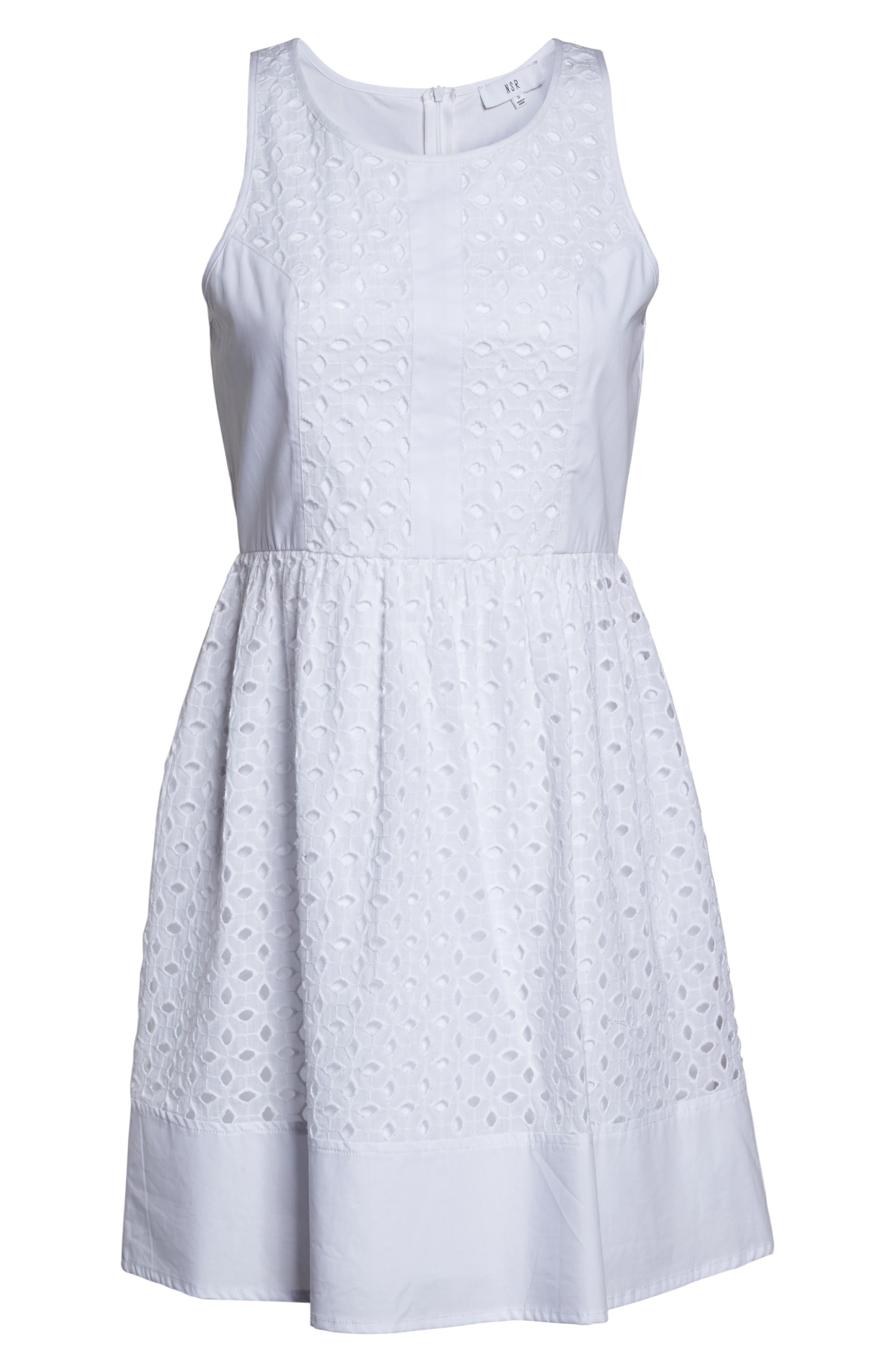 Eyelet Fit & Flare Dress,                             Alternate thumbnail 6, color,                             White