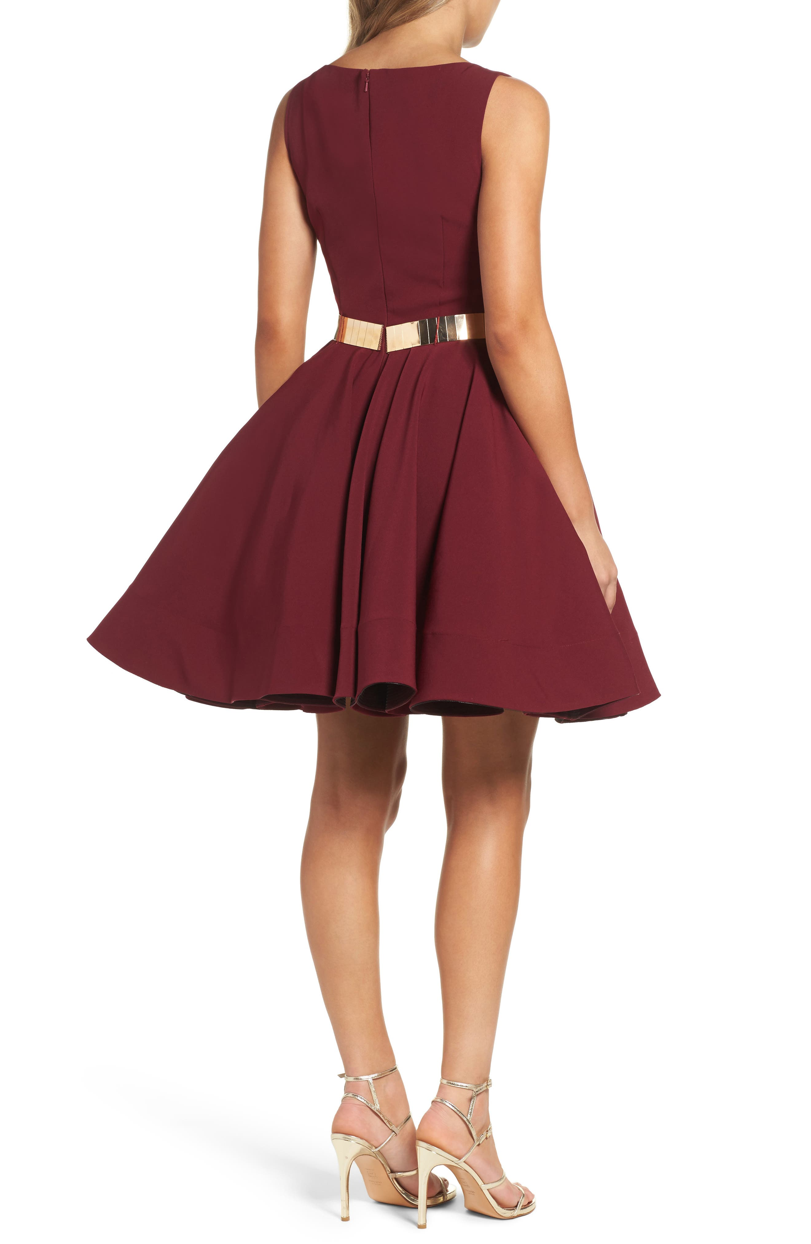 Belted Fit & Flare Dress,                             Alternate thumbnail 2, color,                             Wine