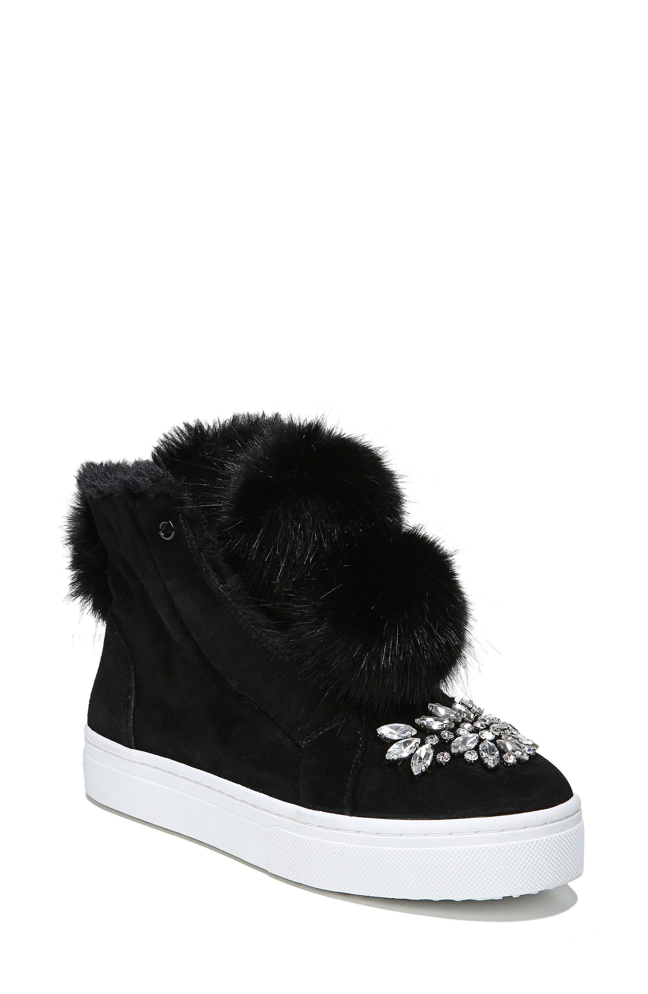 Leland Faux Fur Sneaker,                         Main,                         color, Black Suede