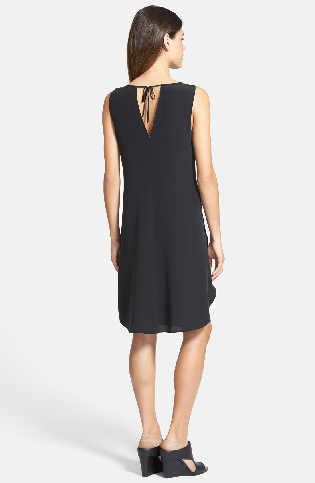 Alternate Image 2  - Eileen Fisher Keyhole Detail Double Layer Silk Shift Dress (Regular & Petite)