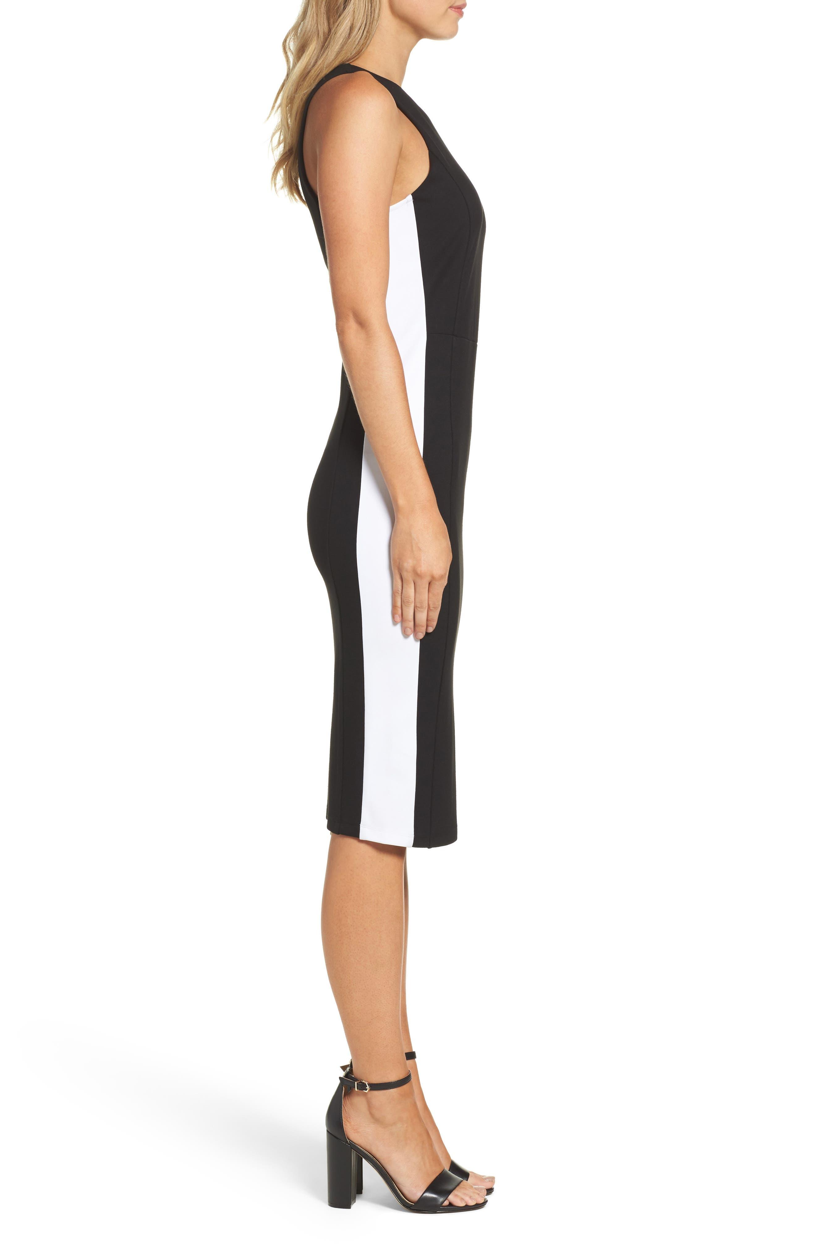 Orlanda Ponte Knit Sheath Dress,                             Alternate thumbnail 3, color,                             Black/ White