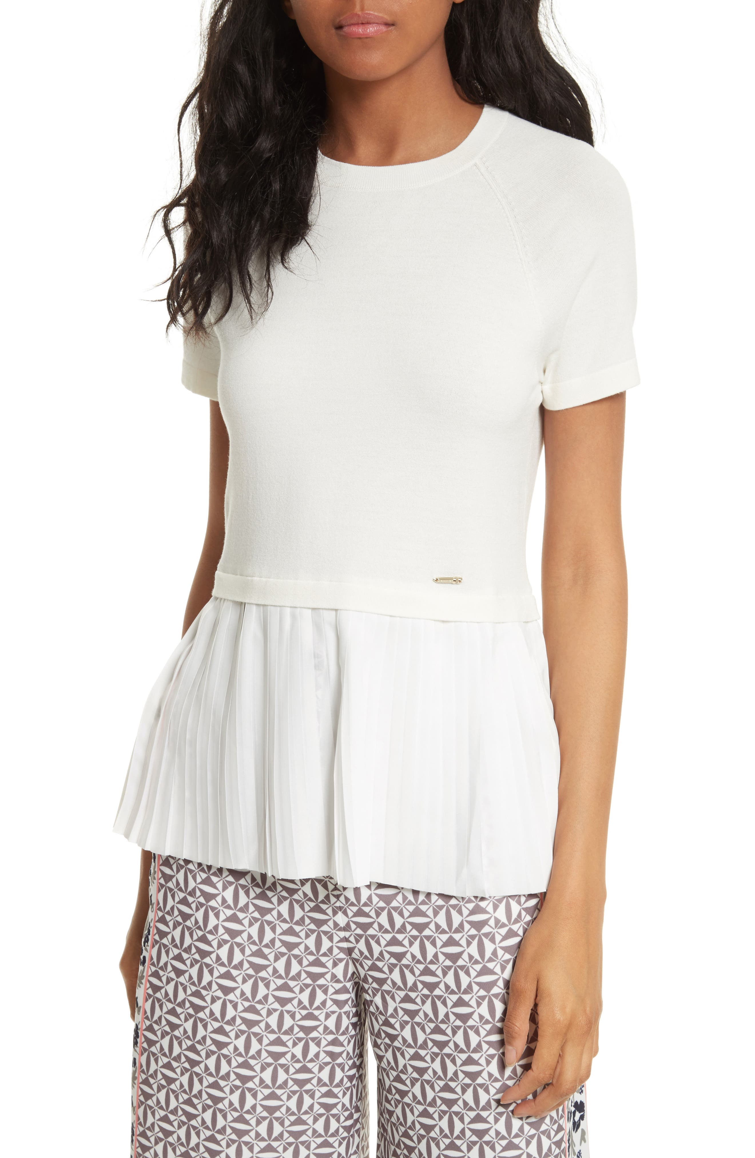 Ted Baker London Gutai Pleat Panel Knit Top