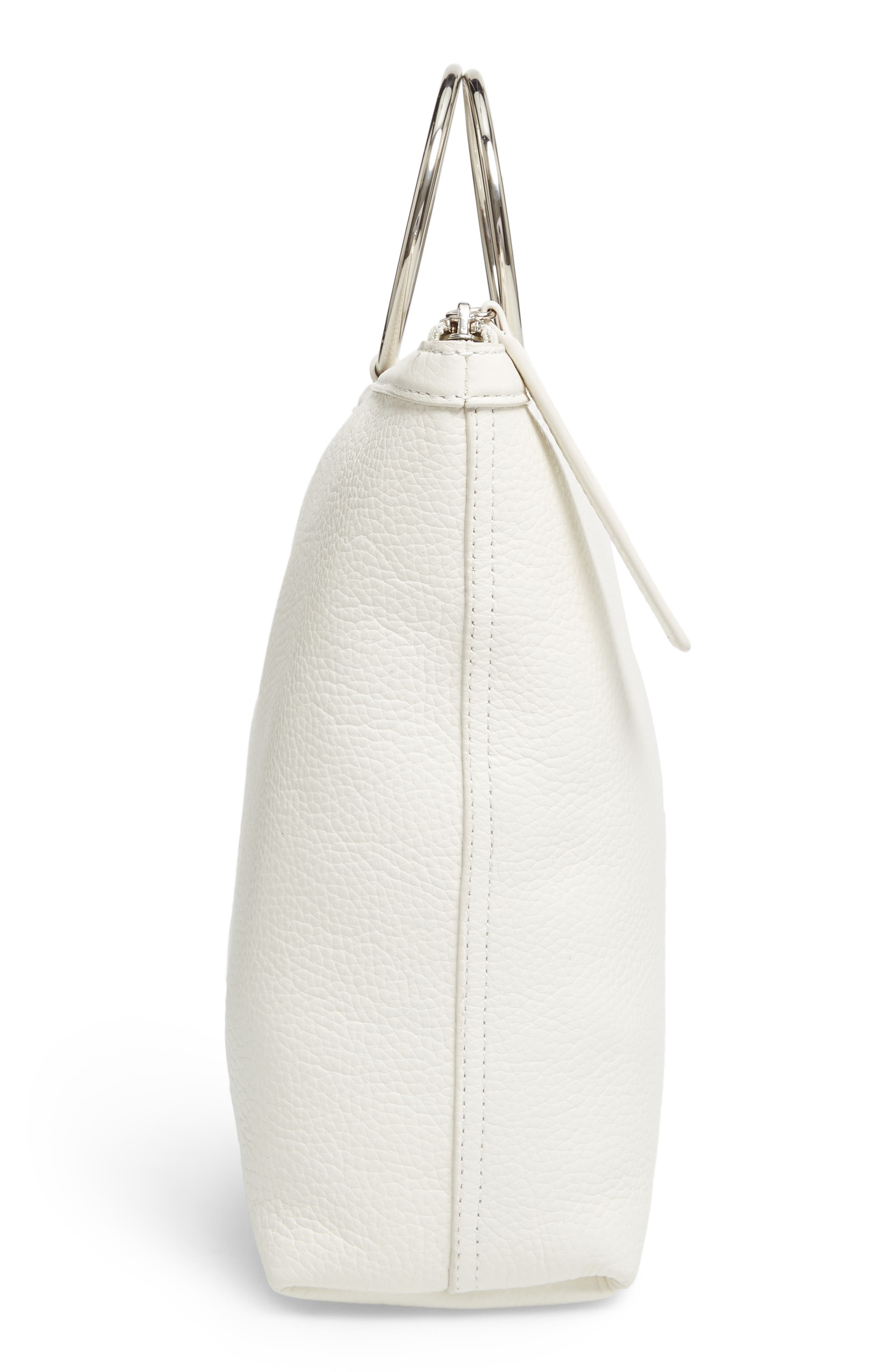 Large Pebbled Leather Ring Clutch,                             Alternate thumbnail 3, color,                             Off White