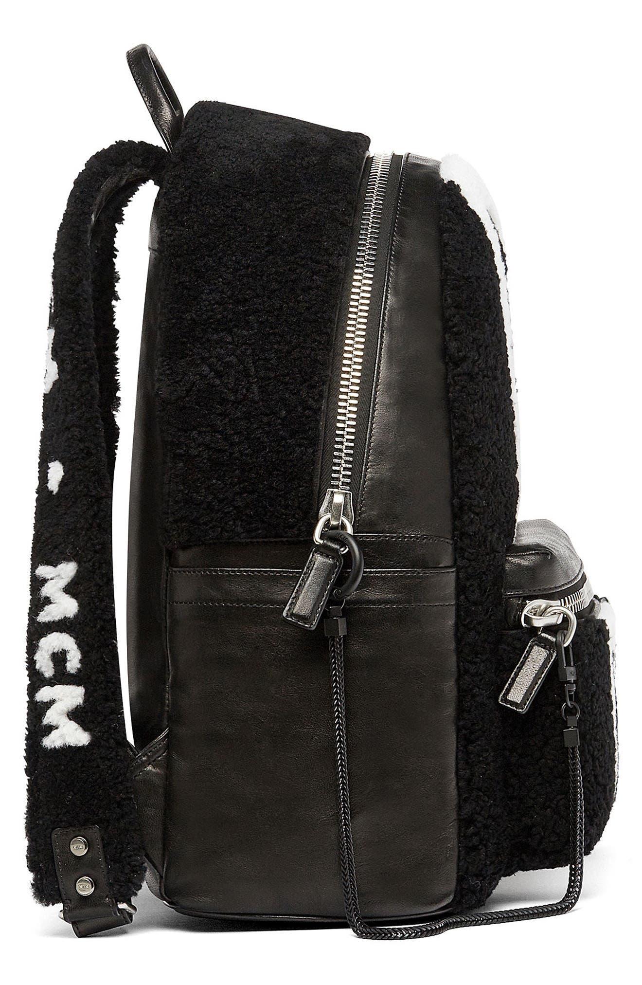 Alternate Image 4  - MCM Stark Genuine Shearling Stripe Canvas Backpack