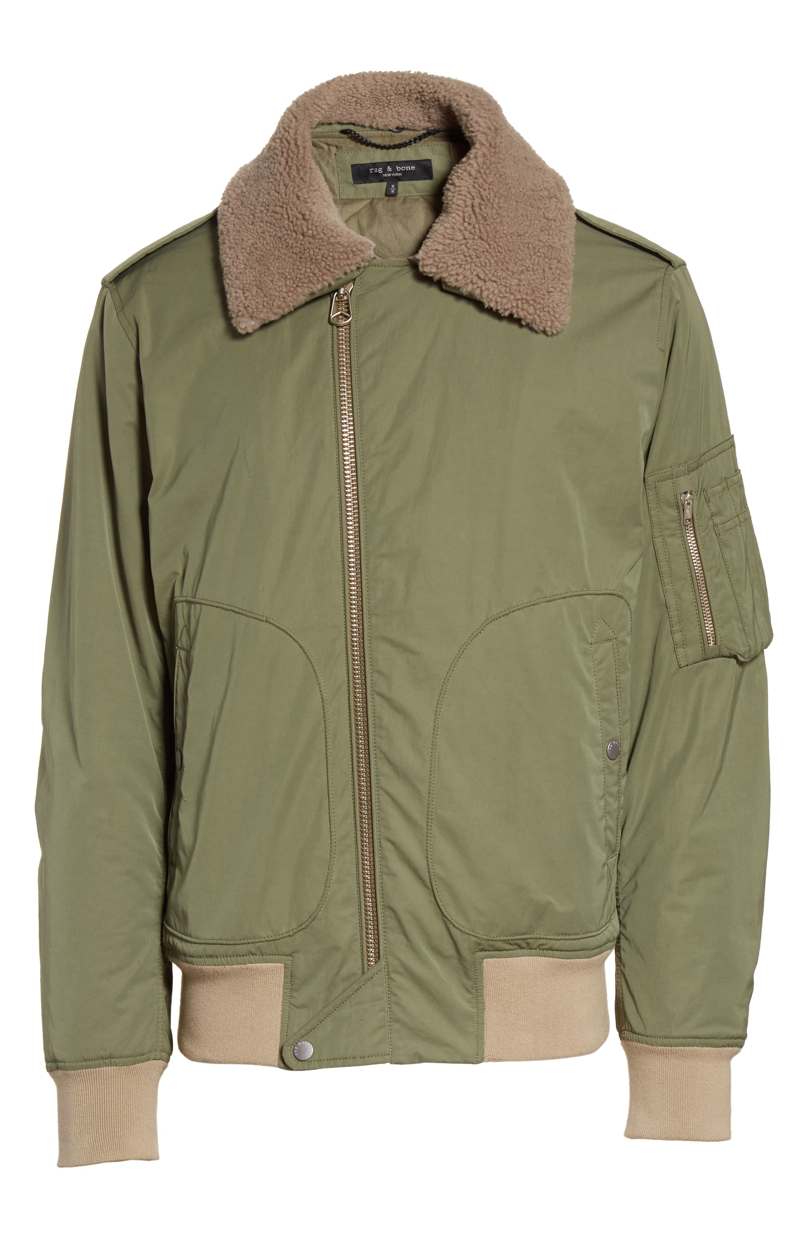 Flight Jacket with Genuine Shearling Collar,                             Alternate thumbnail 6, color,                             Army Green
