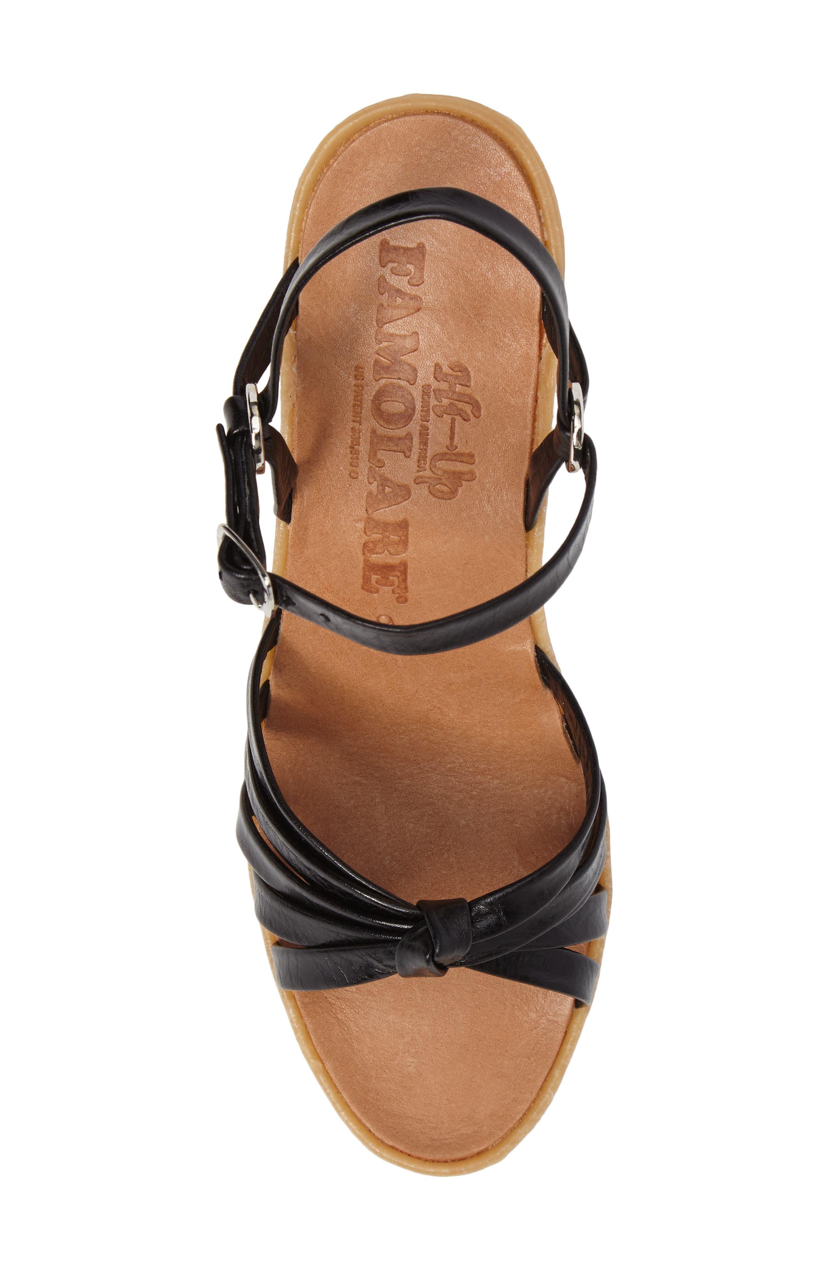 Knotty Monkey Wedge Sandal,                             Alternate thumbnail 5, color,                             Coal Leather